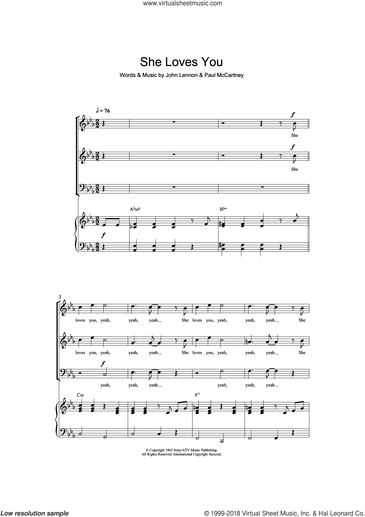 She Loves You sheet music for choir (SAB) by The Beatles, John Lennon and Paul McCartney, intermediate choir (SAB). Score Image Preview.