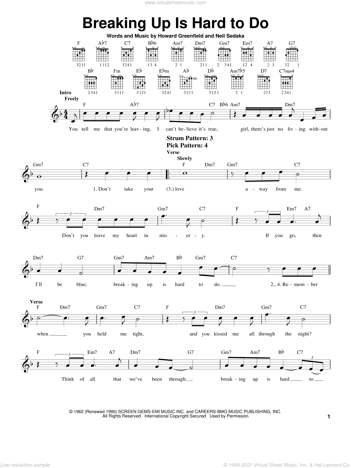 Breaking Up Is Hard To Do sheet music for guitar solo (chords) by Neil Sedaka, Partridge Family and Howard Greenfield, easy guitar (chords)