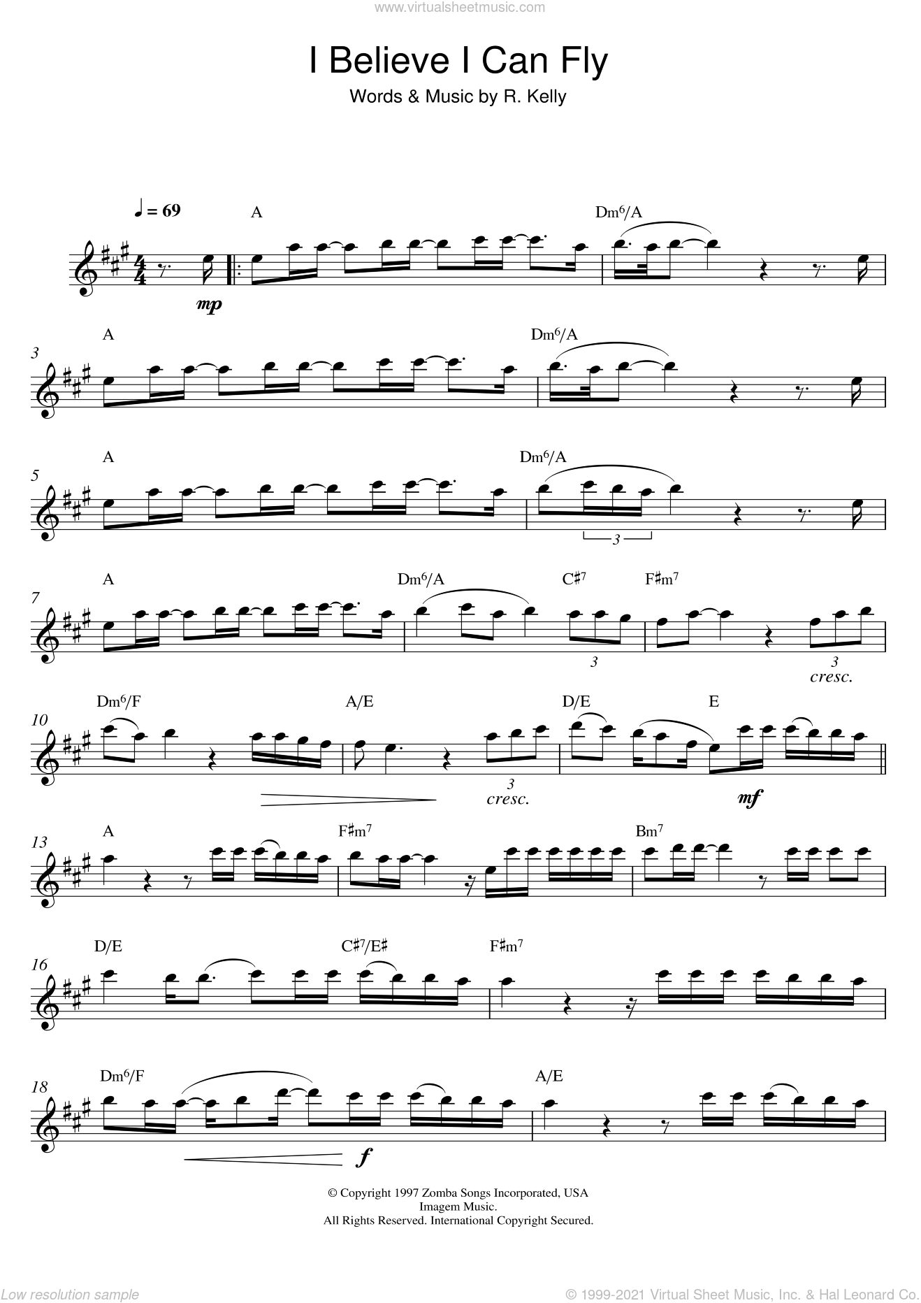 I Believe I Can Fly sheet music for alto saxophone solo by Robert Kelly, intermediate. Score Image Preview.