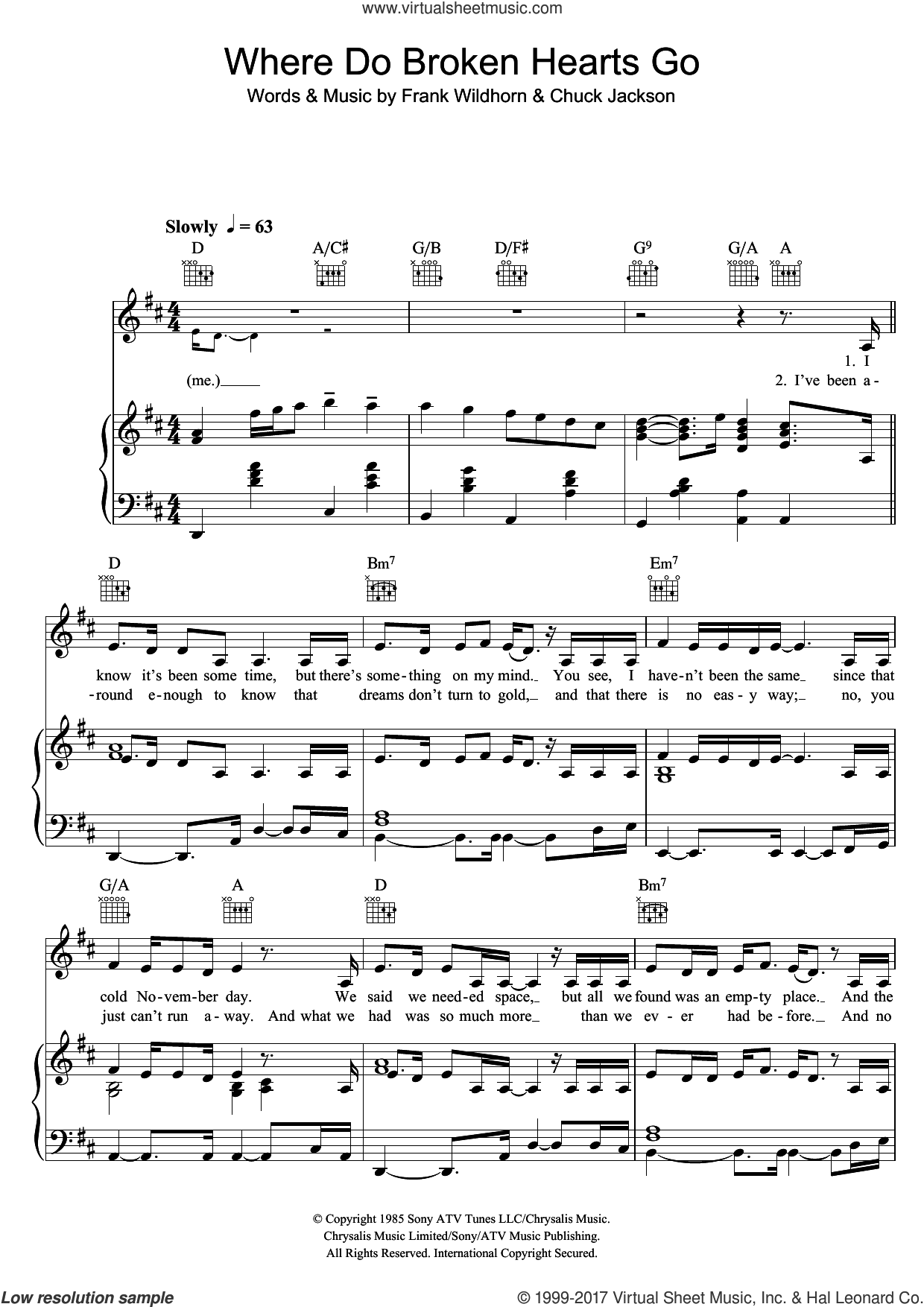 Where Do Broken Hearts Go sheet music for voice, piano or guitar by Whitney Houston, Chuck Jackson and Frank Wildhorn, intermediate skill level