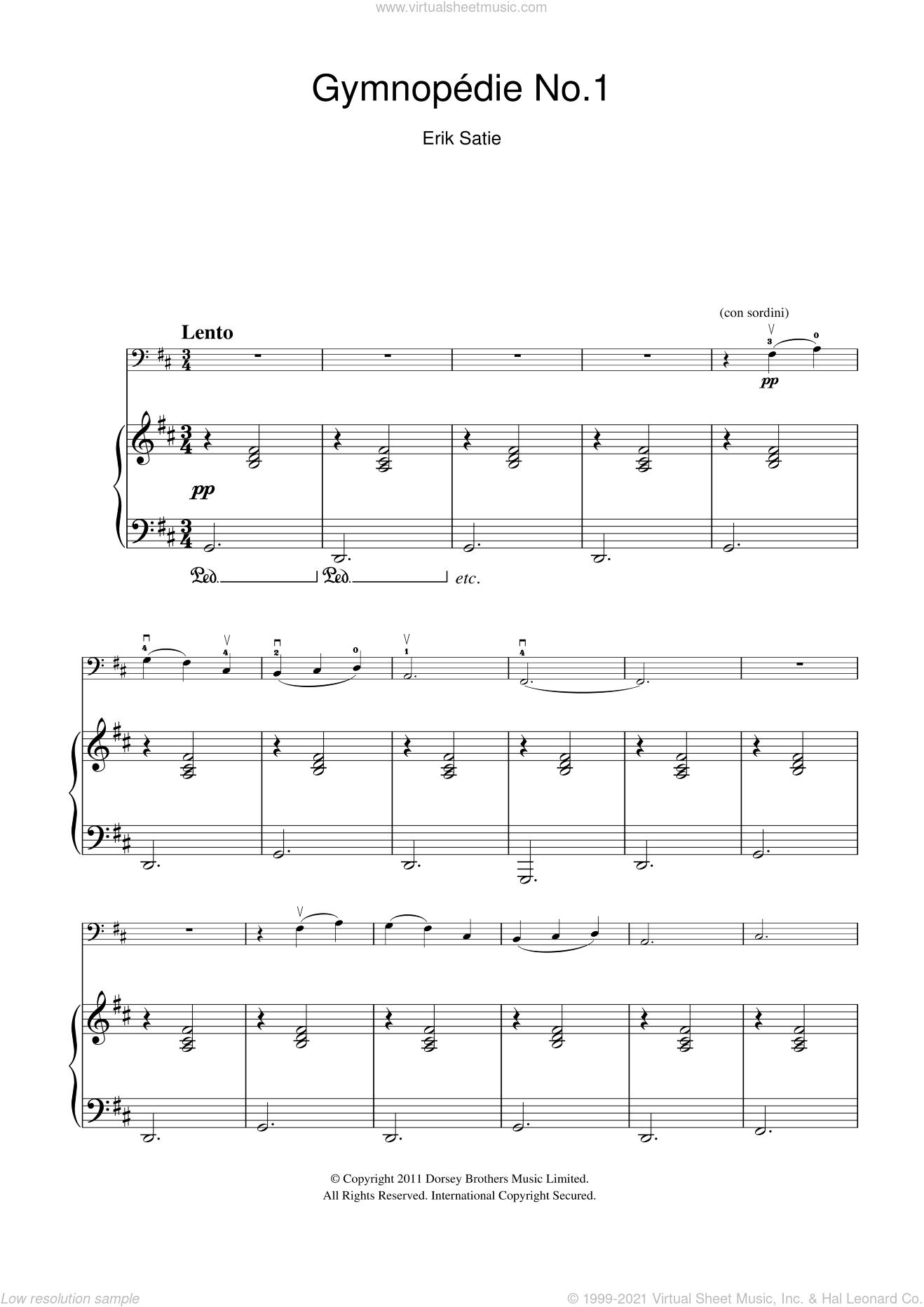 Gymnopedie No. 1 sheet music for cello solo by Erik Satie, classical score, intermediate skill level