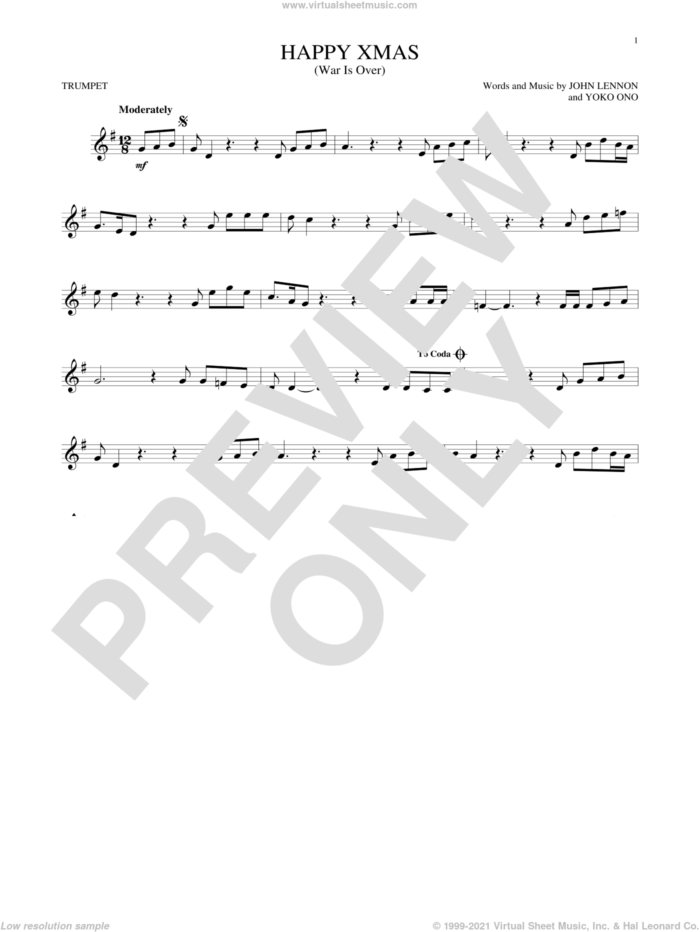 Happy Xmas (War Is Over) sheet music for trumpet solo by John Lennon, Sarah McLachlan and Yoko Ono, intermediate skill level
