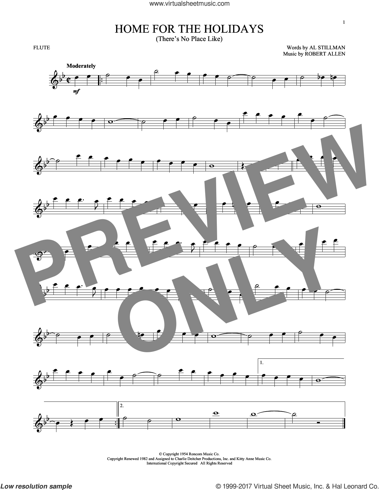 (There's No Place Like) Home For The Holidays sheet music for flute solo by Perry Como, Al Stillman and Robert Allen, intermediate skill level