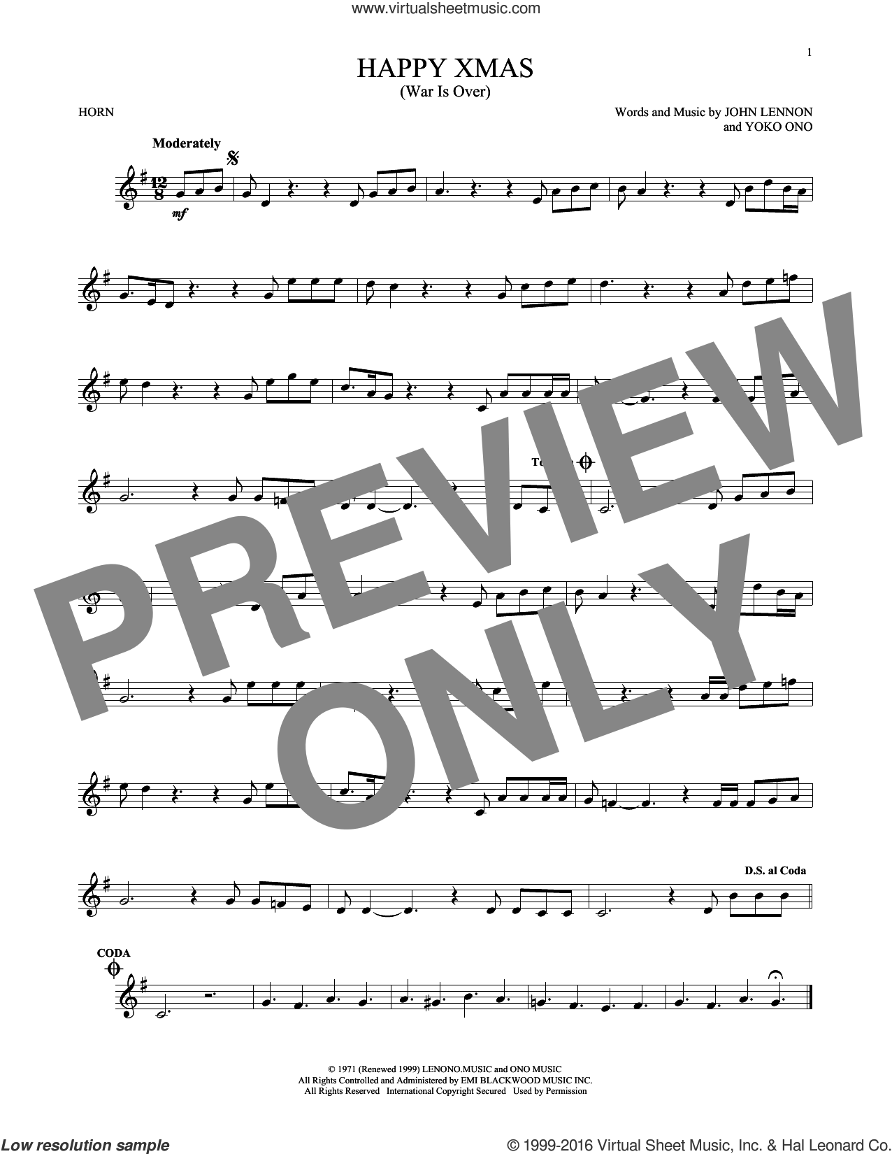 Happy Xmas (War Is Over) sheet music for horn solo by John Lennon and Yoko Ono, intermediate skill level
