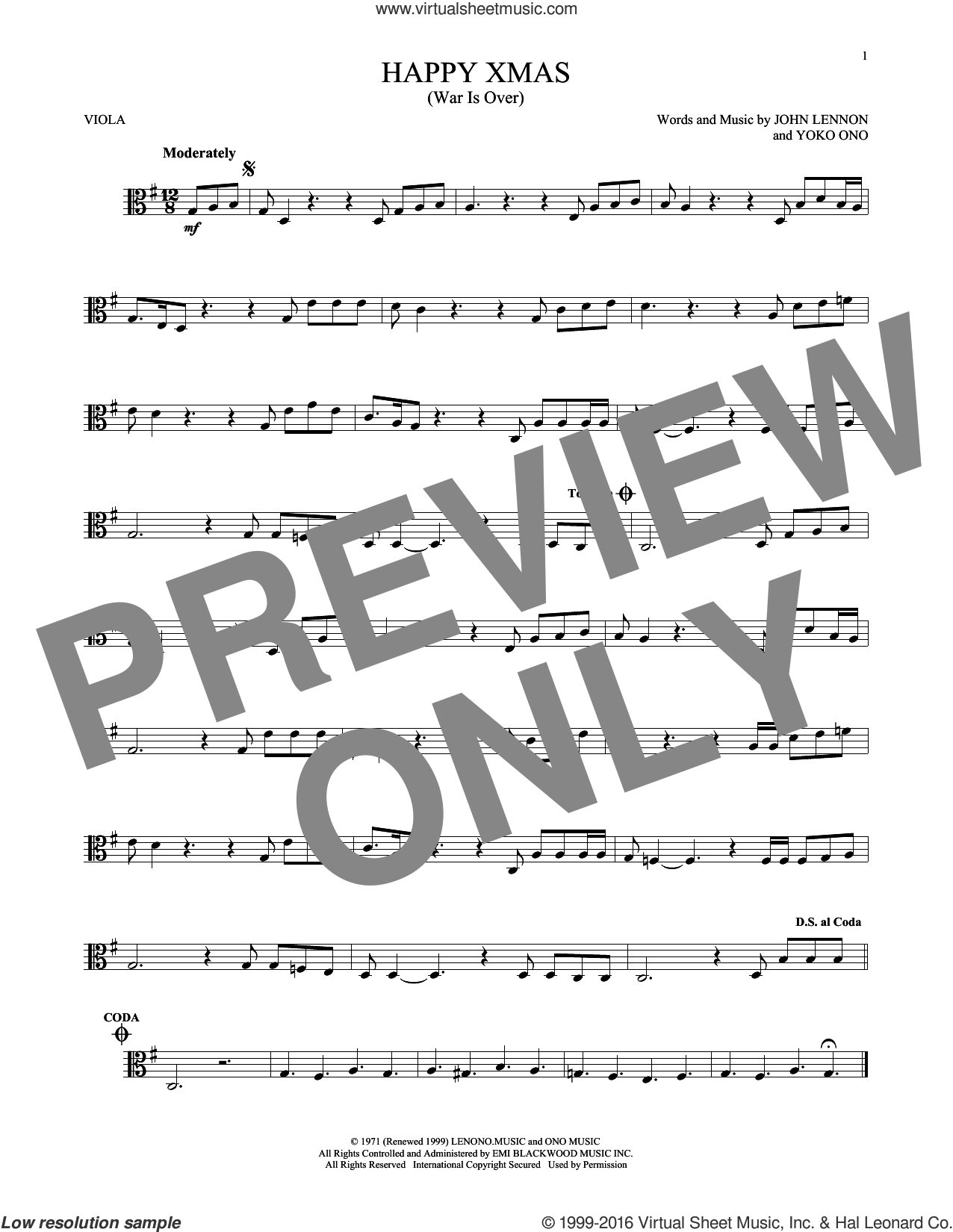 Happy Xmas (War Is Over) sheet music for viola solo by John Lennon and Yoko Ono, intermediate. Score Image Preview.