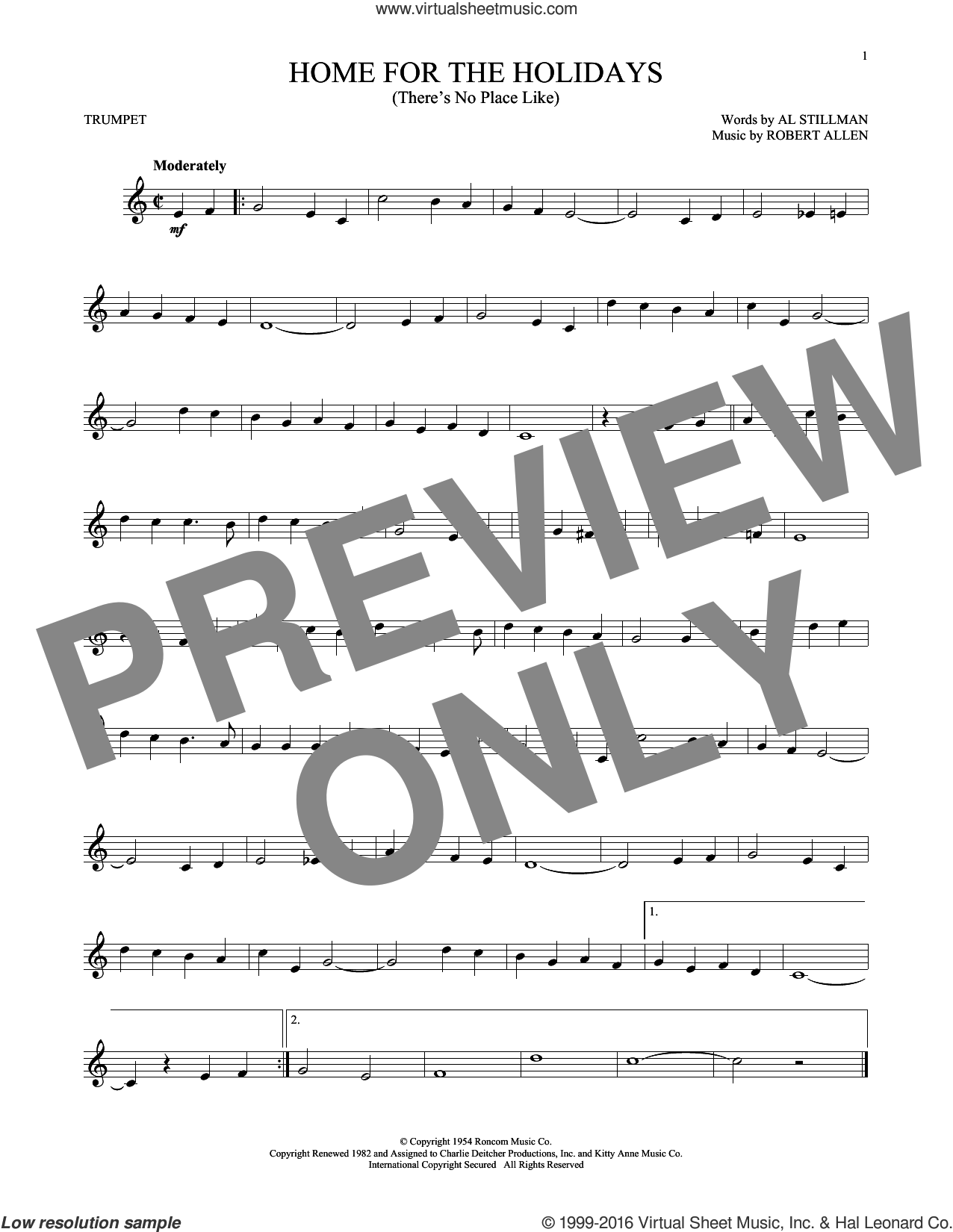 (There's No Place Like) Home For The Holidays sheet music for trumpet solo by Perry Como, Al Stillman and Robert Allen, intermediate skill level