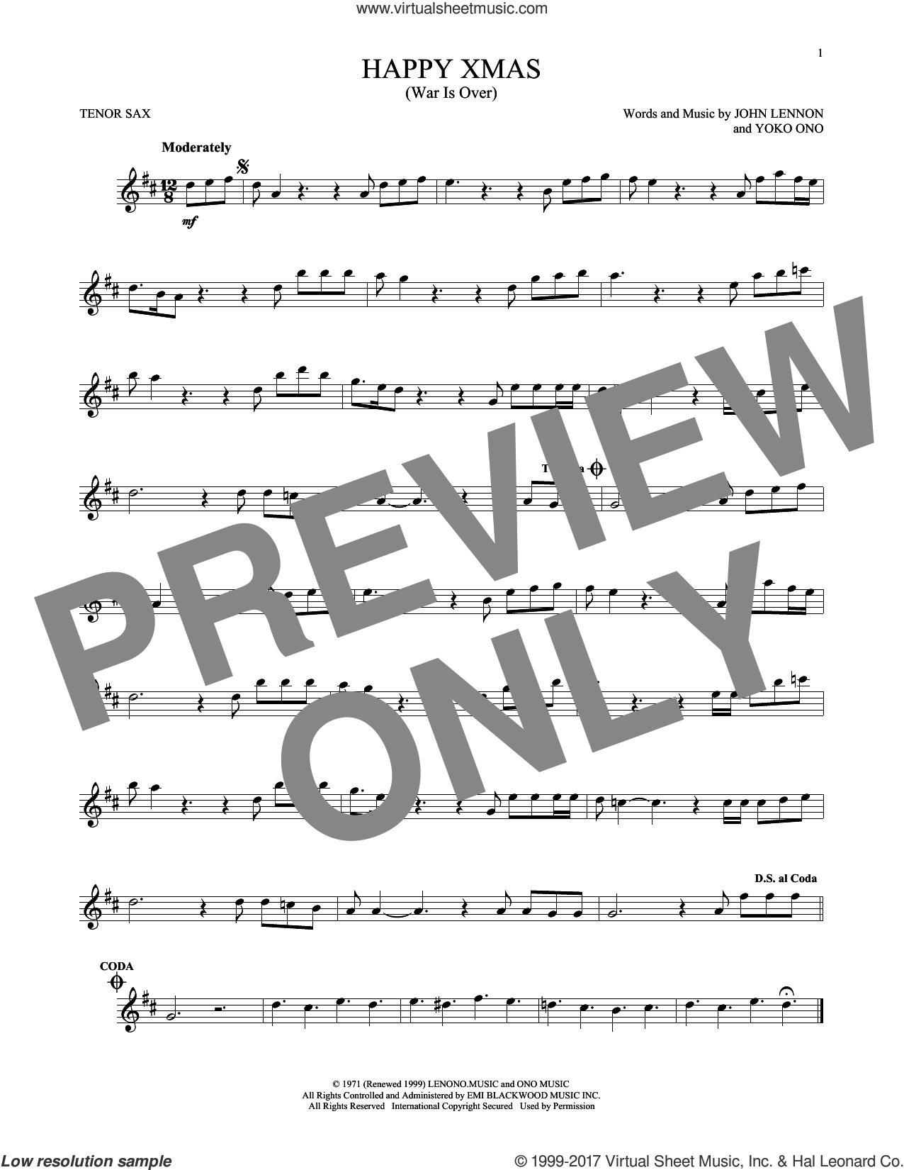 Happy Xmas (War Is Over) sheet music for tenor saxophone solo by John Lennon and Yoko Ono, intermediate skill level