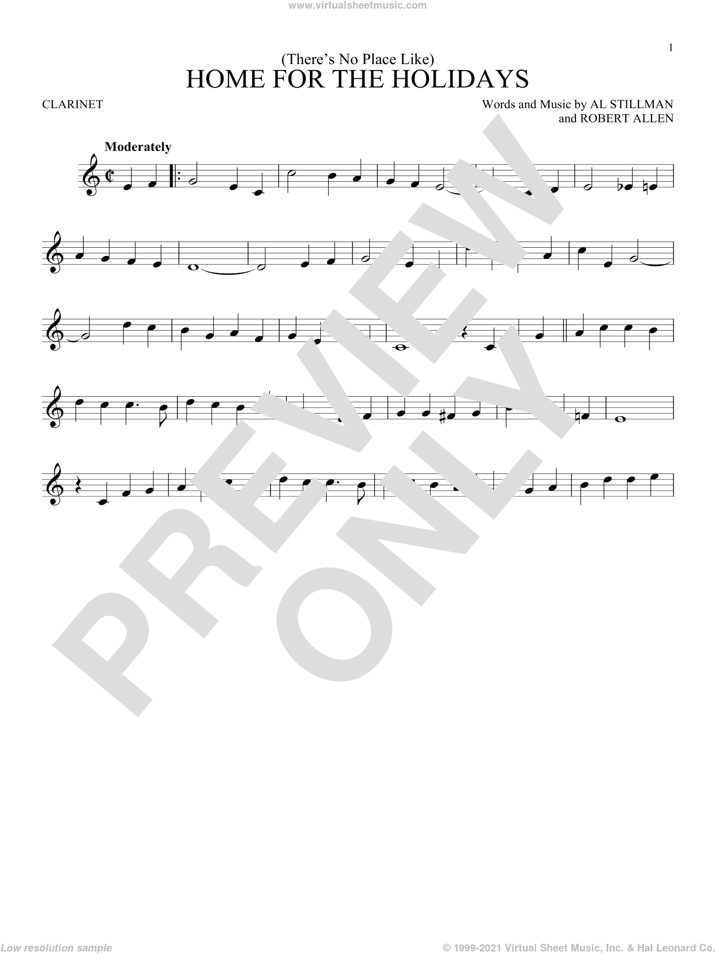 (There's No Place Like) Home For The Holidays sheet music for clarinet solo by Perry Como, Al Stillman and Robert Allen, intermediate skill level