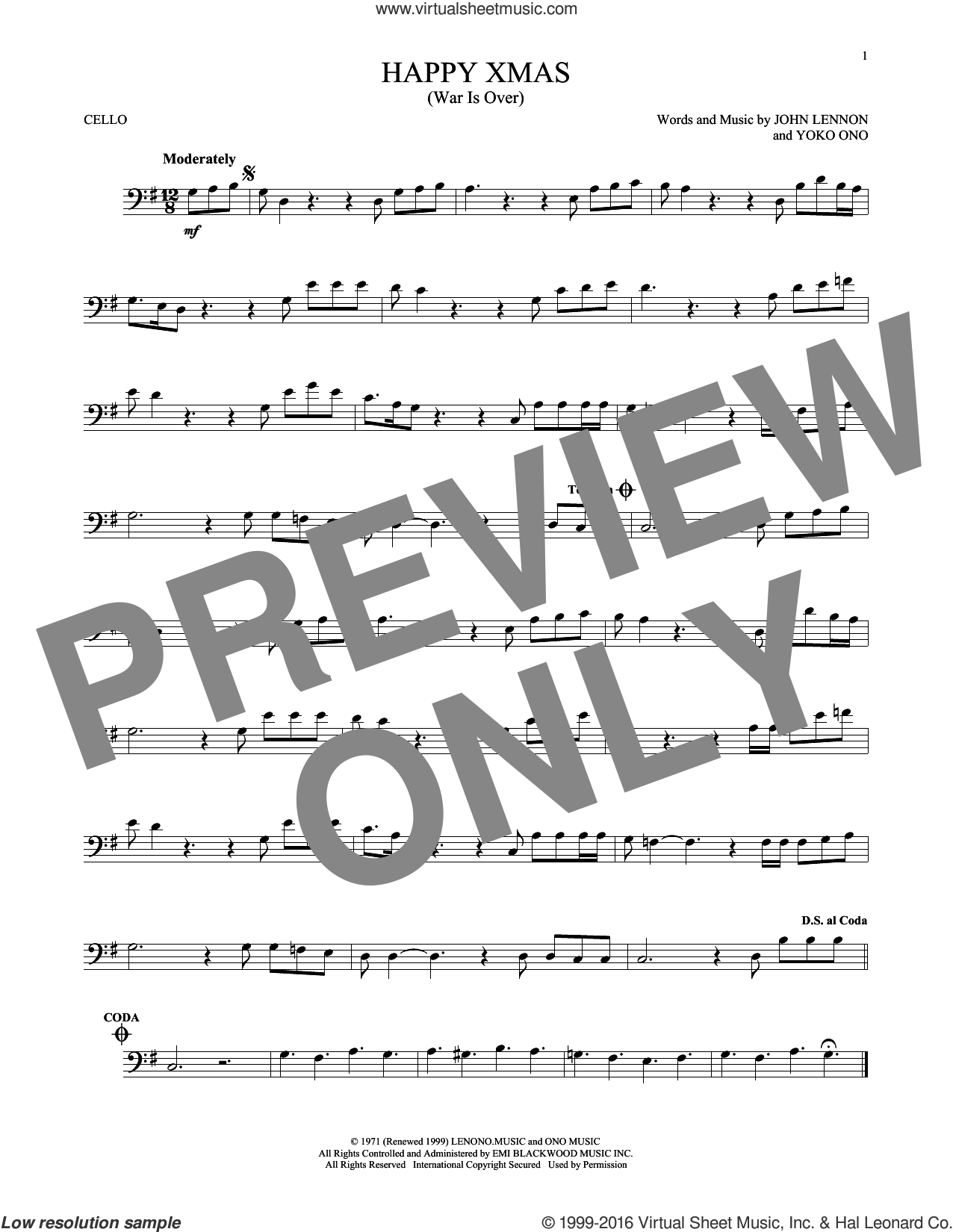 Happy Xmas (War Is Over) sheet music for cello solo by John Lennon and Yoko Ono, intermediate skill level
