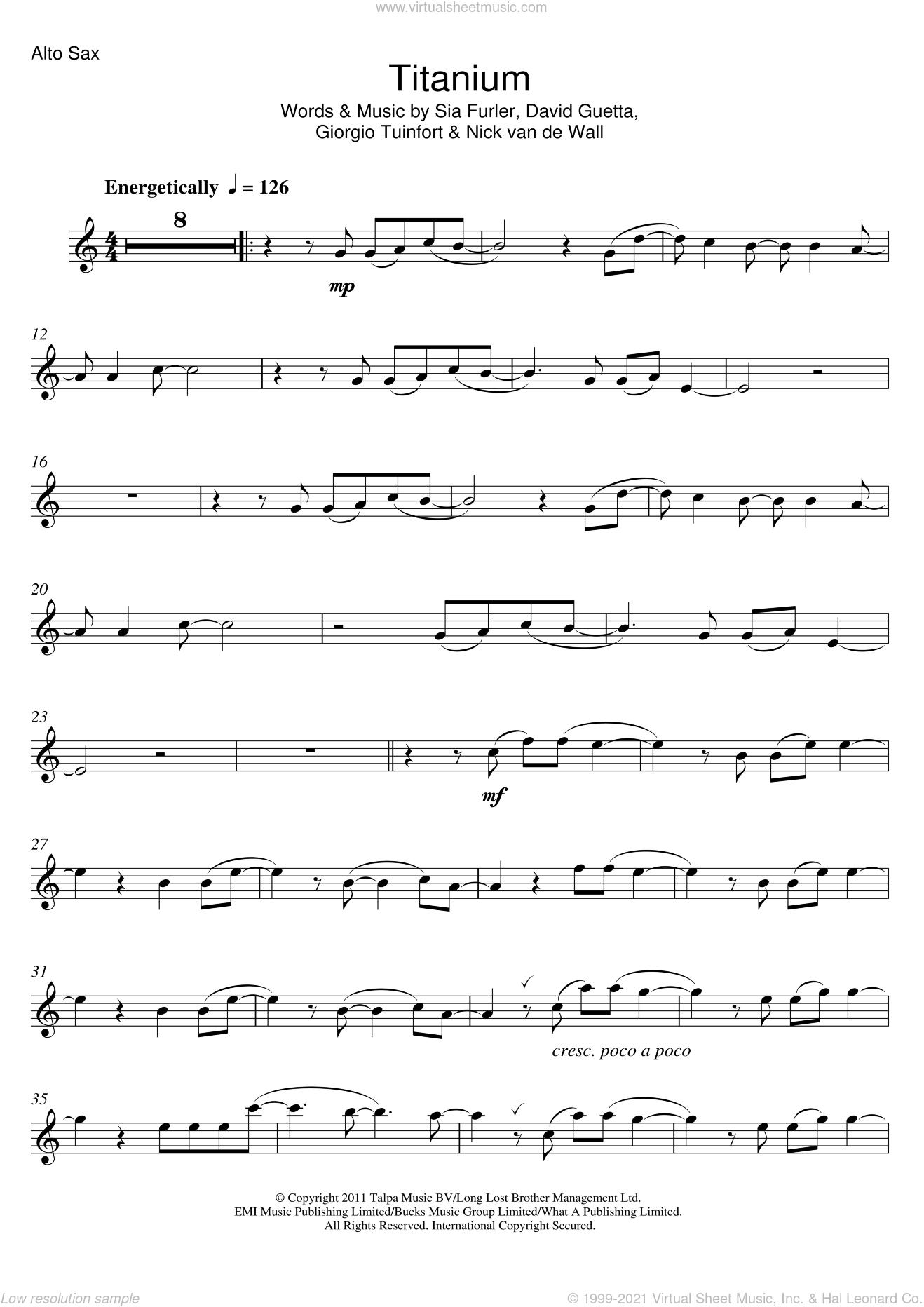 Titanium (feat. Sia) sheet music for alto saxophone solo by David Guetta, Sia, Giorgio Tuinfort, Nick van de Wall and Sia Furler, intermediate skill level