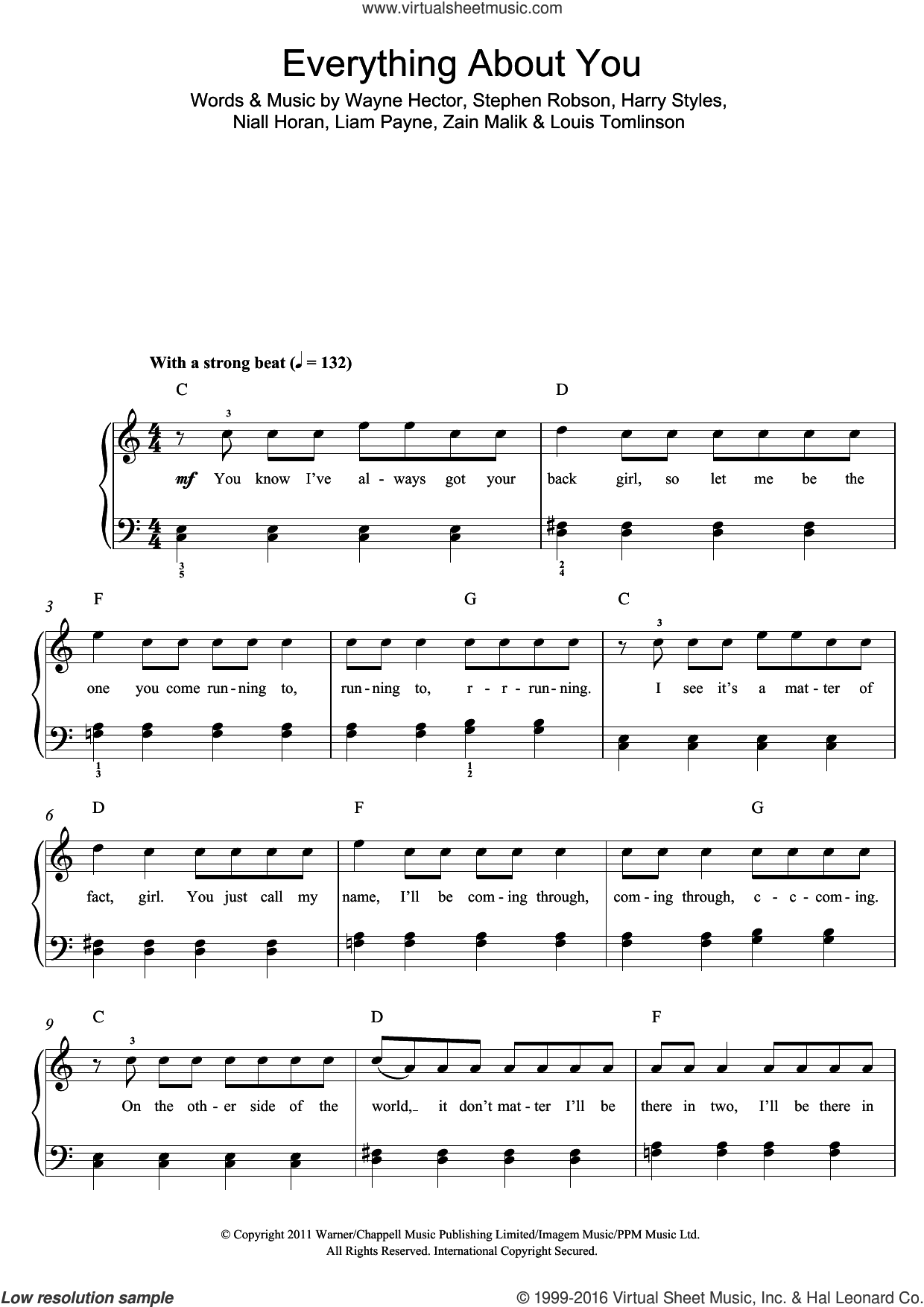 Everything About You sheet music for piano solo (beginners) by One Direction, Harry Styles, Liam Payne, Louis Tomlinson, Niall Horan, Steve Robson, Wayne Hector and Zain Malik, beginner piano (beginners)