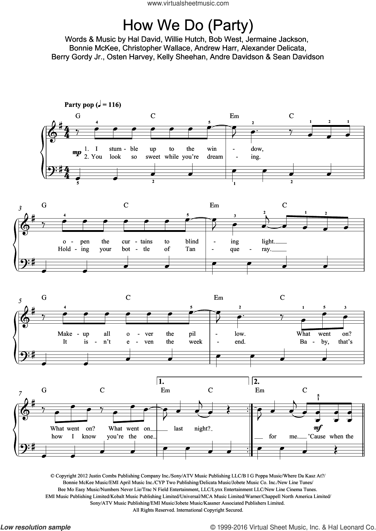How We Do (Party) sheet music for piano solo (beginners) by Rita Ora, Alexander Delicata, Andre Davidson, Andrew Harr, Berry Gordy Jr., Bob West, Bonnie McKee, Christopher Wallace, Hal David, Jermaine Jackson, Kelly Sheehan, Osten Harvey, Sean Davidson and Willie Hutch, beginner piano (beginners)