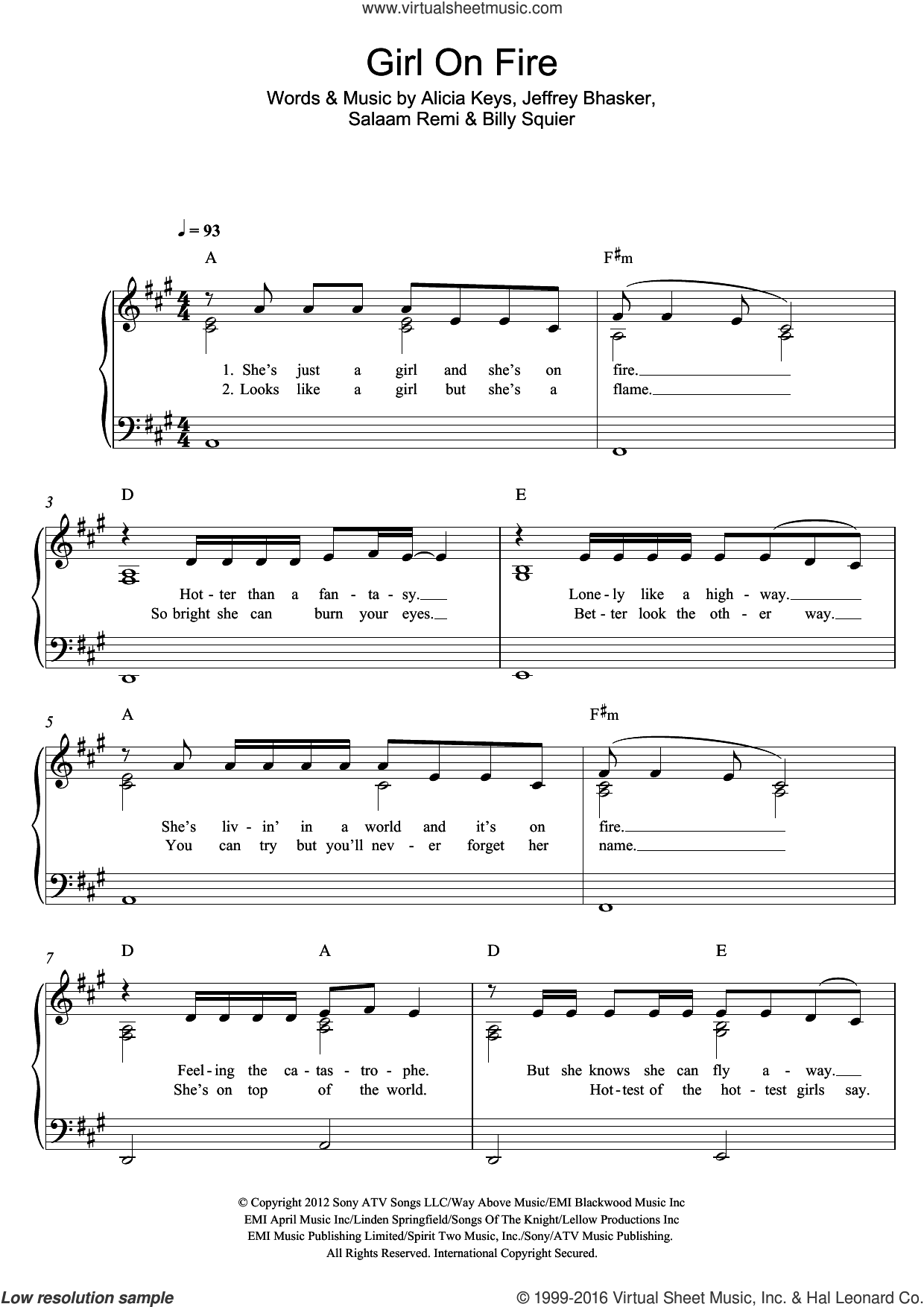 Girl On Fire sheet music for piano solo by Alicia Keys, Billy Squier, Jeffrey Bhasker and Salaam Remi, easy. Score Image Preview.