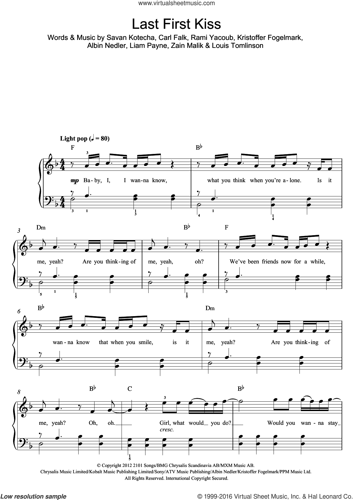 Last First Kiss sheet music for piano solo (beginners) by One Direction, Albin Nedler, Carl Falk, Kristoffer Fogelmark, Liam Payne, Louis Tomlinson, Rami, Savan Kotecha and Zain Malik, beginner piano (beginners)