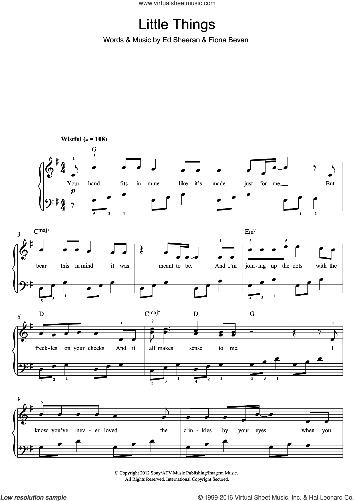 Little Things sheet music for piano solo (beginners) by One Direction, Ed Sheeran and Fiona Bevan, beginner piano (beginners)