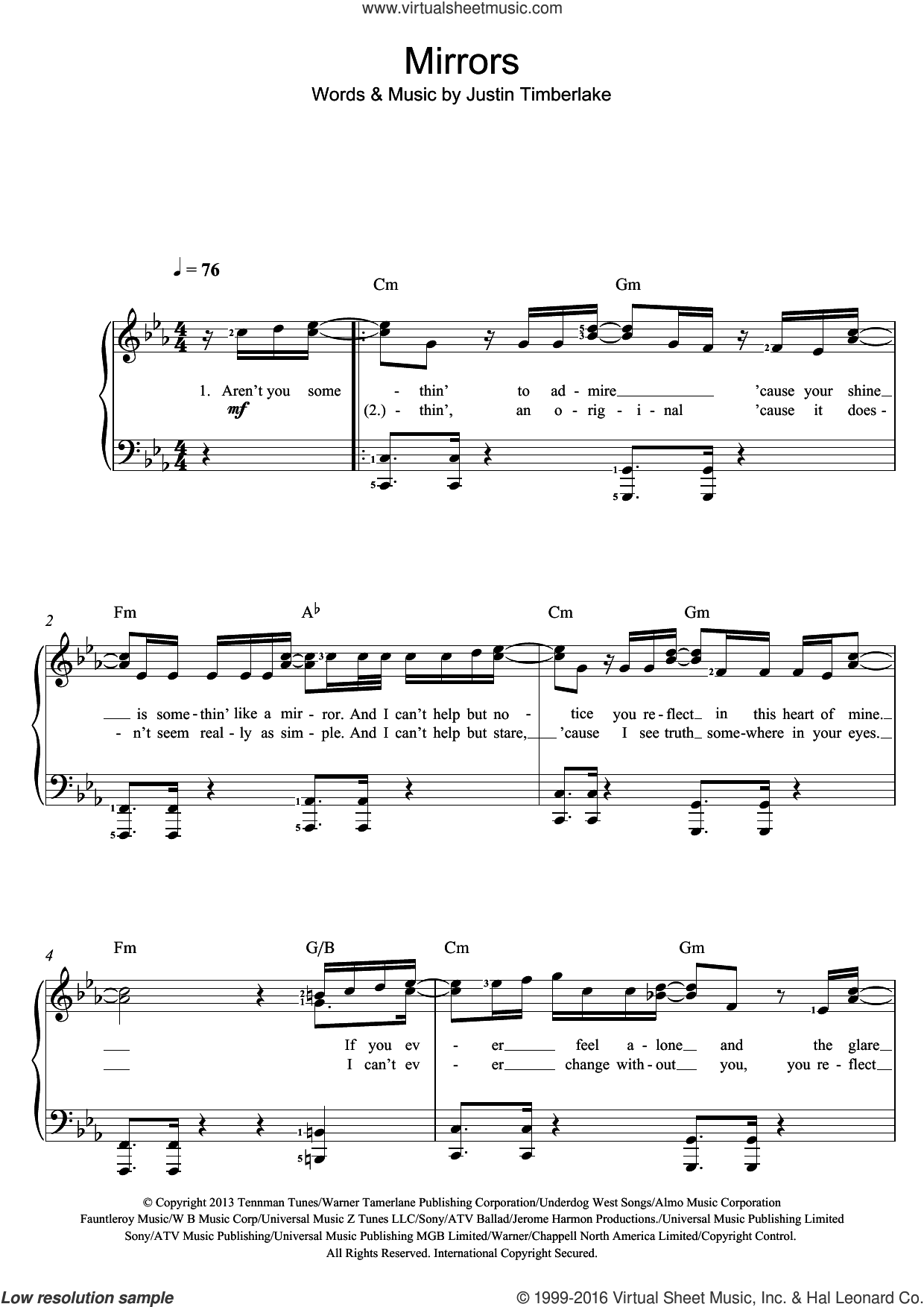 Mirrors sheet music for piano solo (beginners) by Justin Timberlake, beginner piano (beginners)