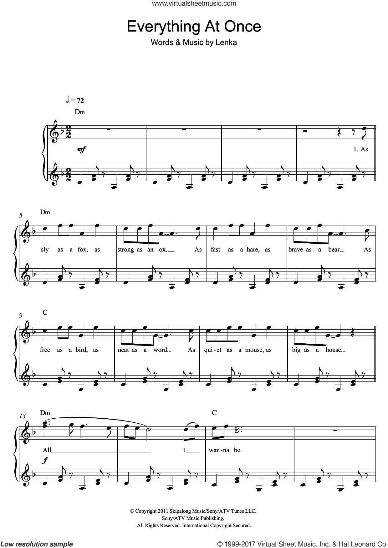 Everything At Once sheet music for piano solo by Lenka, easy skill level