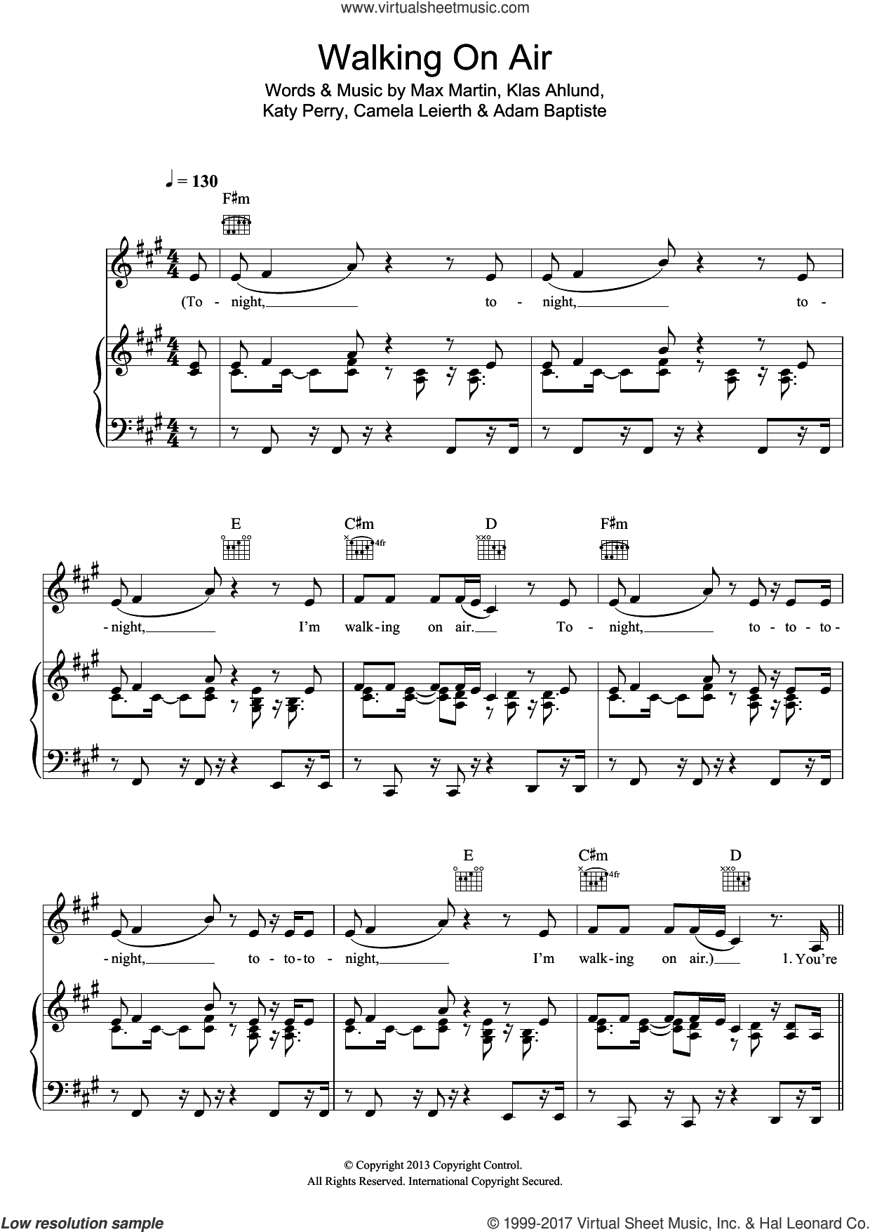 Walking On Air sheet music for voice, piano or guitar by Katy Perry, Klas Ahlund and Max Martin, intermediate. Score Image Preview.