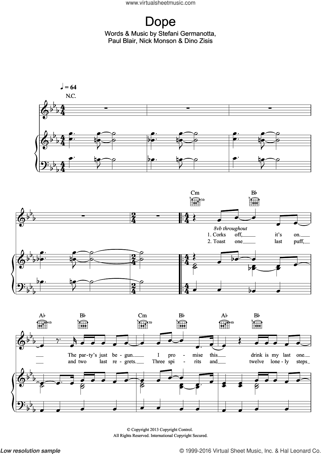 Dope sheet music for voice, piano or guitar by Lady Gaga and Paul Blair, intermediate. Score Image Preview.