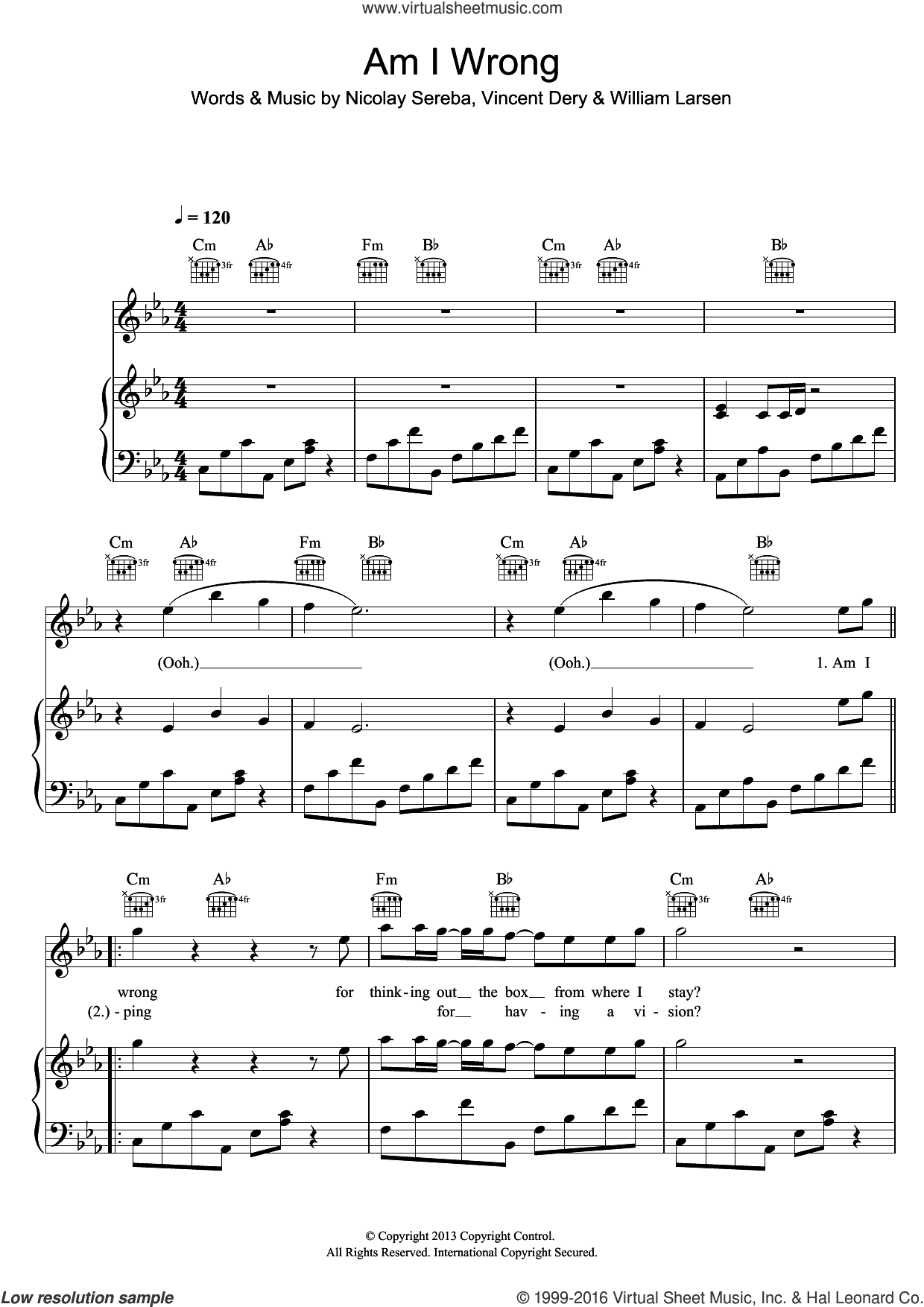 Am I Wrong sheet music for voice, piano or guitar by Envy, Nicolay Sereba, Vincent Dery and William Larsen. Score Image Preview.