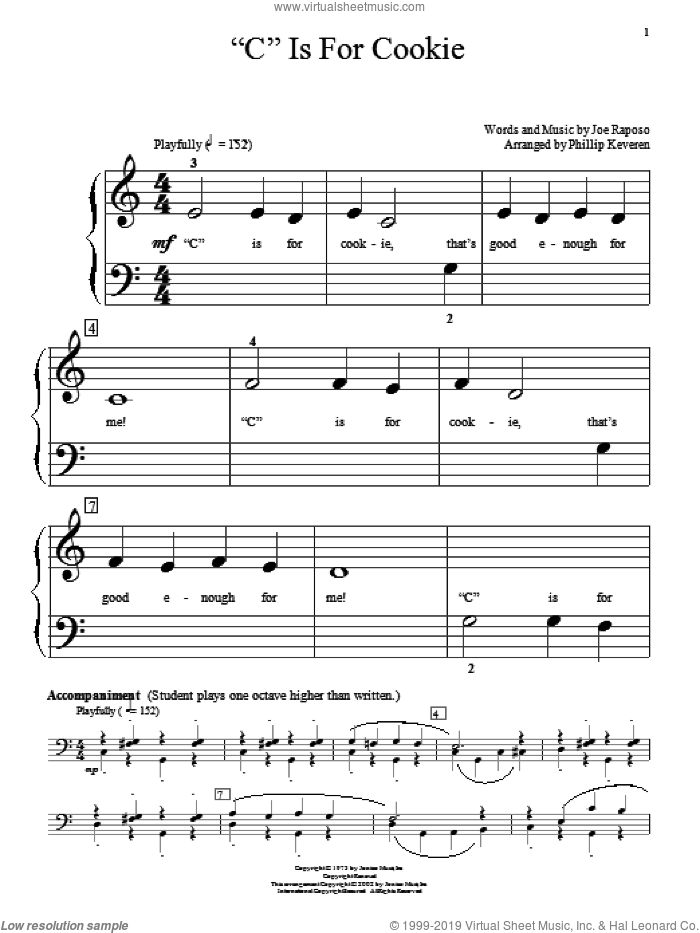 'C' Is For Cookie sheet music for piano solo (big note book) by The Cookie Monster, Phillip Keveren, Miscellaneous, The Muppets and Joe Raposo, easy piano (big note book)