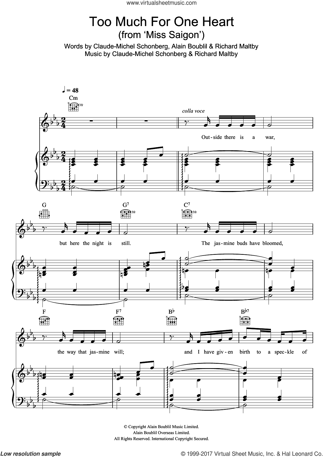 Too Much For One Heart (from Miss Saigon) sheet music for voice, piano or guitar by Boublil and Schonberg, Alain Boublil, Claude-Michel Schonberg and Richard Maltby, Jr., intermediate skill level