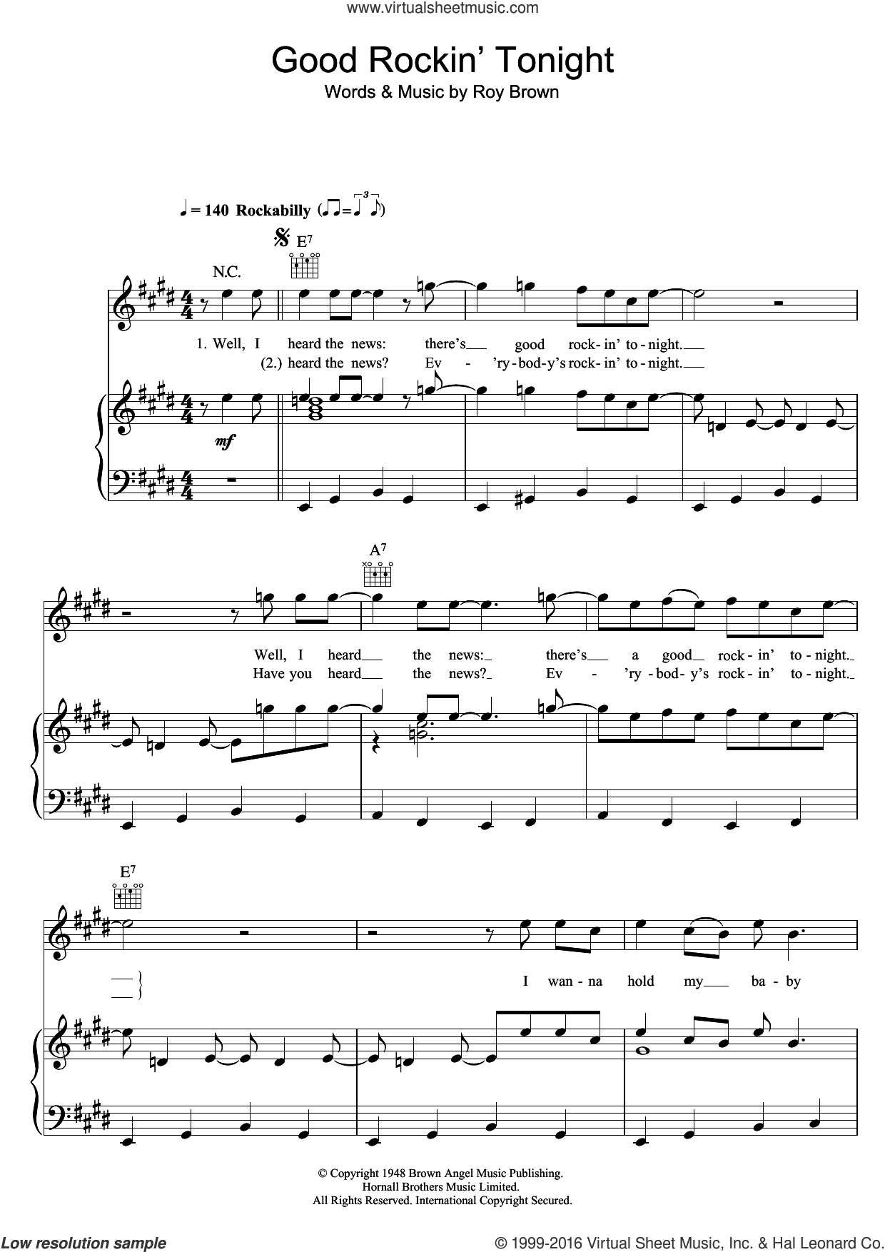 Good Rockin' Tonight sheet music for voice, piano or guitar by Elvis Presley and Roy Brown, intermediate skill level