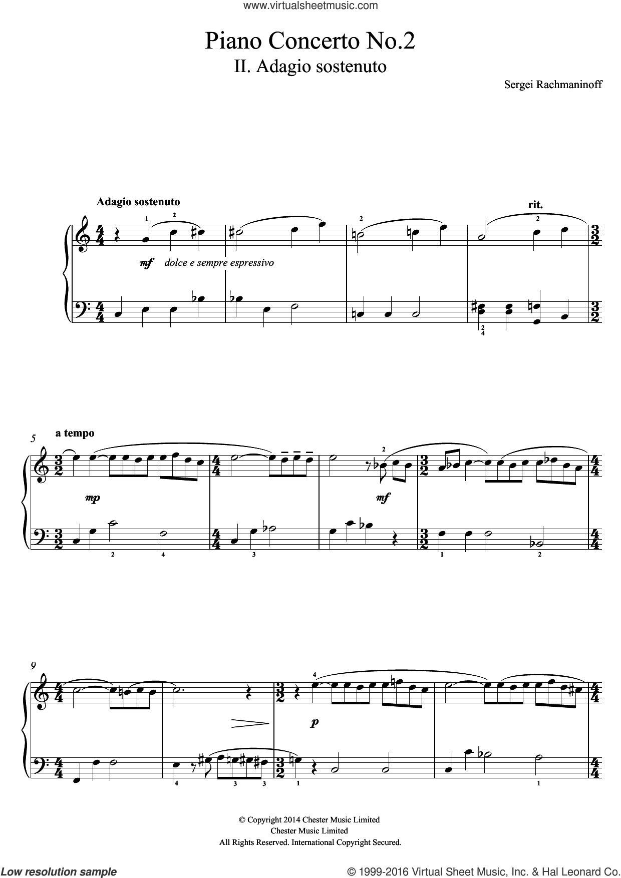 Piano Concerto No.2 - 2nd Movement sheet music for piano solo (beginners) by Serjeij Rachmaninoff, classical score, beginner piano (beginners)