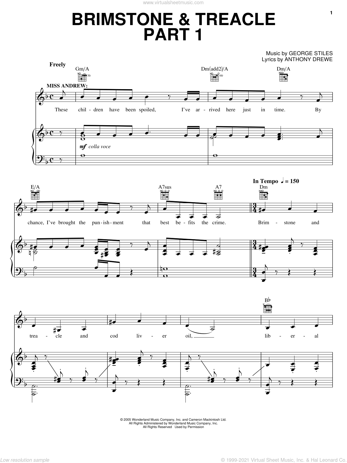 Brimstone and Treacle Part 1 sheet music for voice, piano or guitar by Anthony Drewe and George Stiles, intermediate voice, piano or guitar. Score Image Preview.