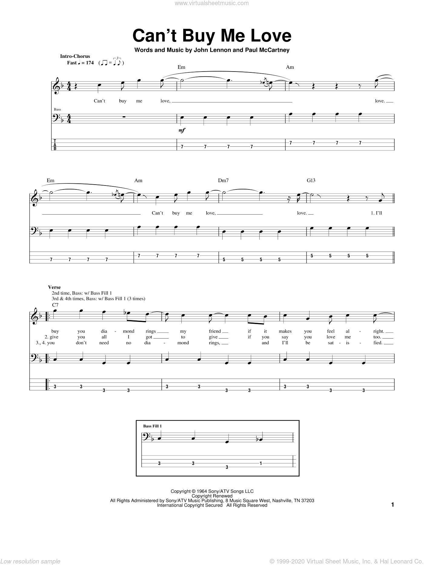 Can't Buy Me Love sheet music for bass (tablature) (bass guitar) by Paul McCartney, The Beatles and John Lennon. Score Image Preview.