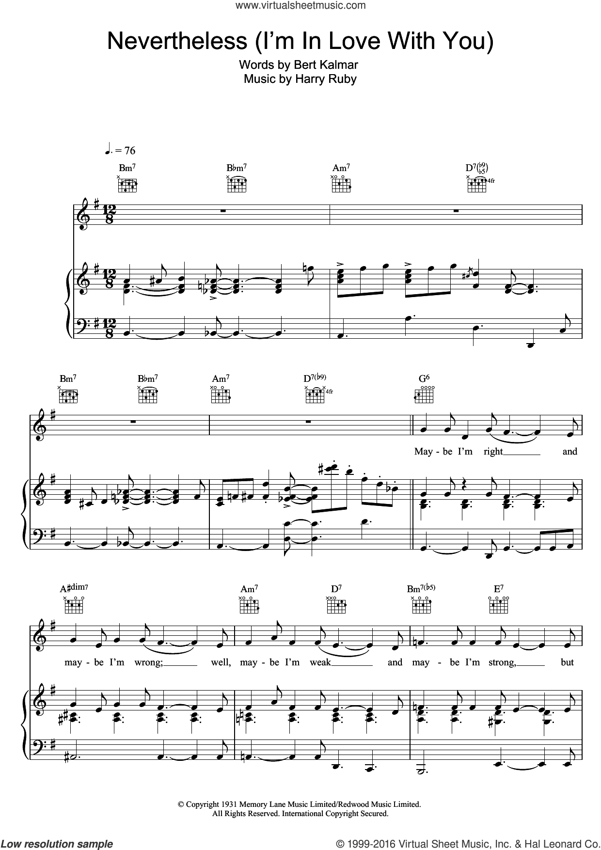 Nevertheless (I'm In Love With You) sheet music for voice, piano or guitar by Michael Buble, Bert Kalmar and Harry Ruby, intermediate skill level