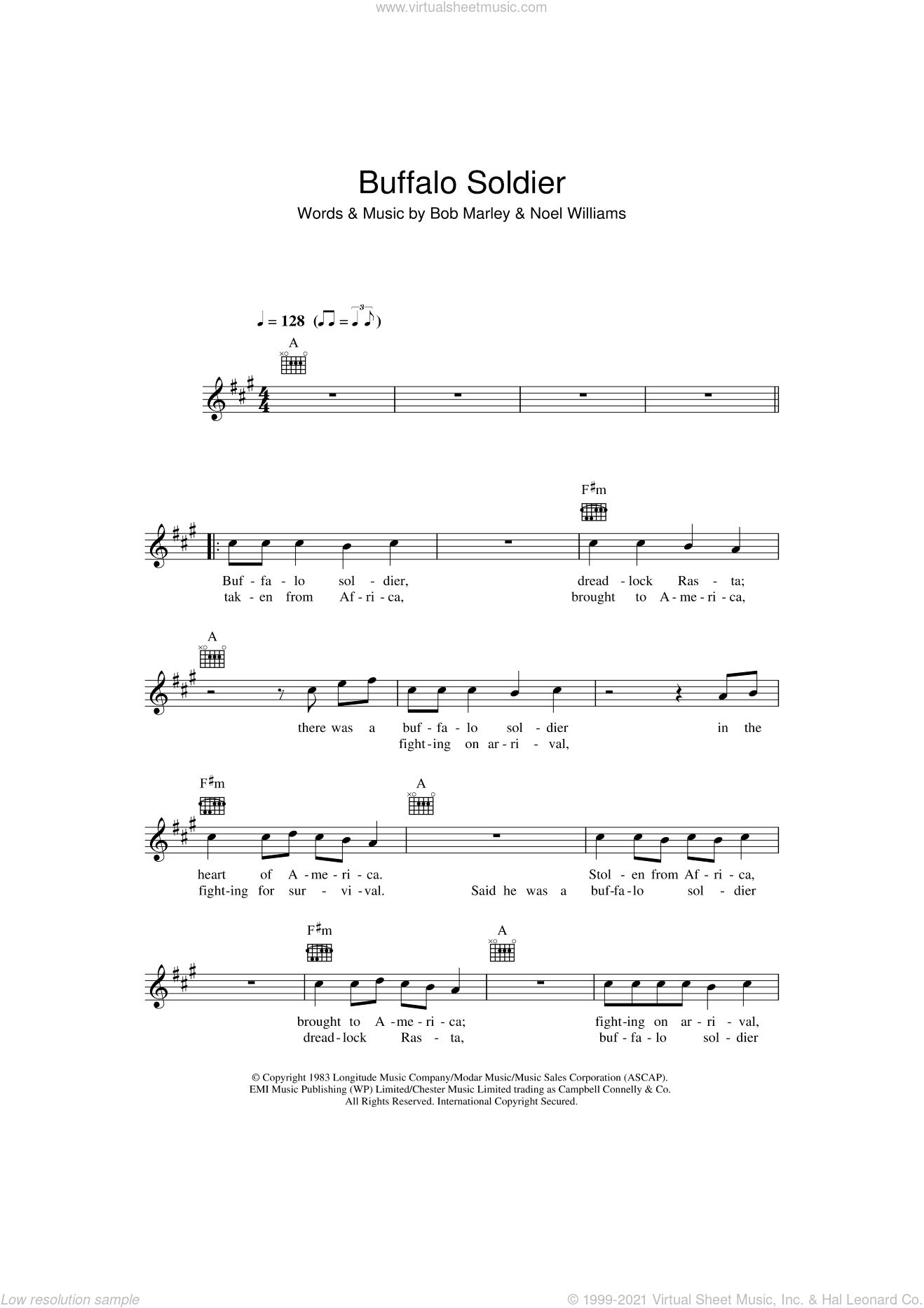 Buffalo Soldier sheet music for voice and other instruments (fake book) by Bob Marley and Noel Williams, intermediate skill level