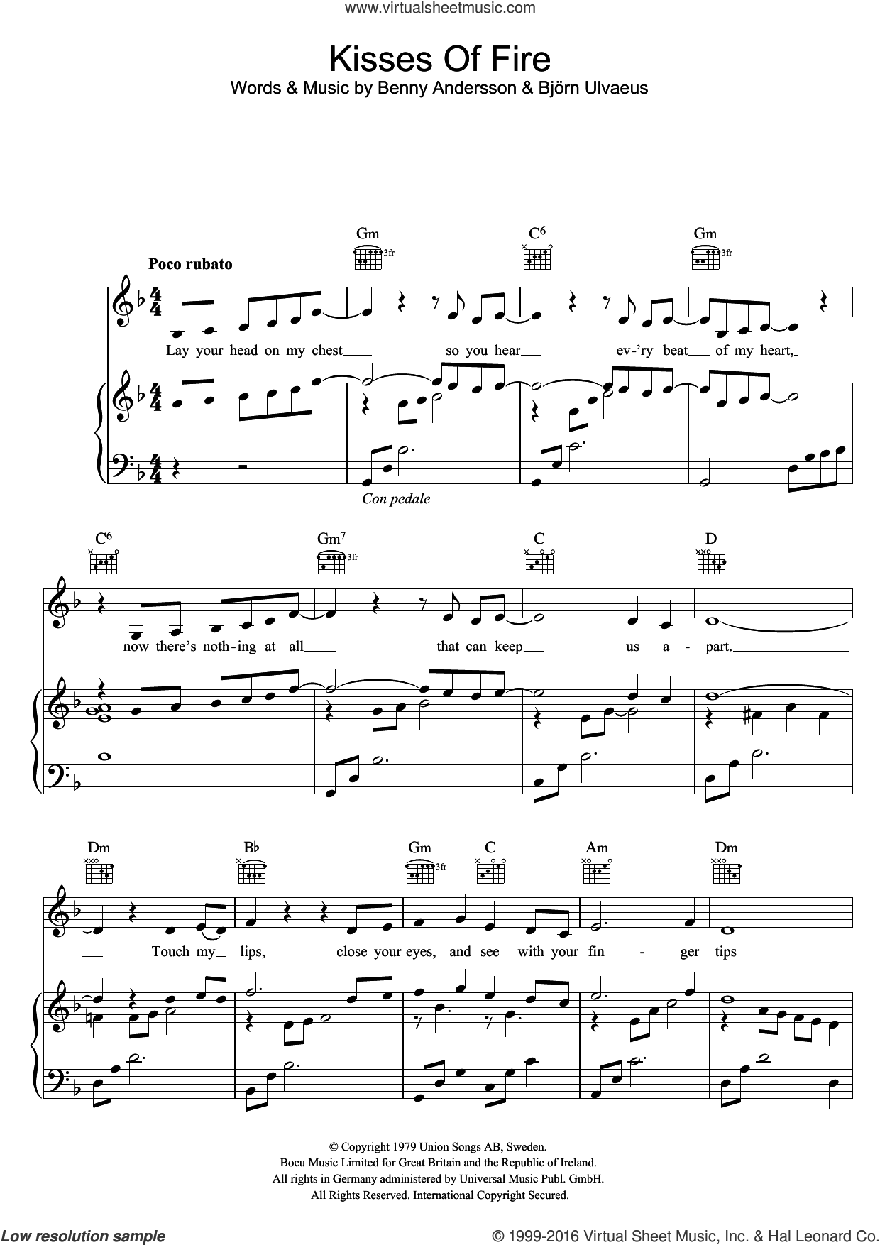 Kisses Of Fire sheet music for voice, piano or guitar by ABBA, Benny Andersson and Bjorn Ulvaeus, intermediate skill level