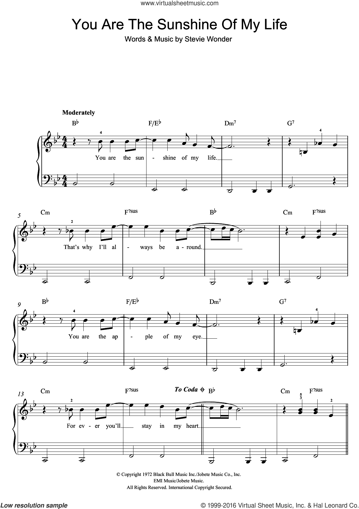 You Are The Sunshine Of My Life sheet music for piano solo (beginners) by Stevie Wonder, beginner piano (beginners)