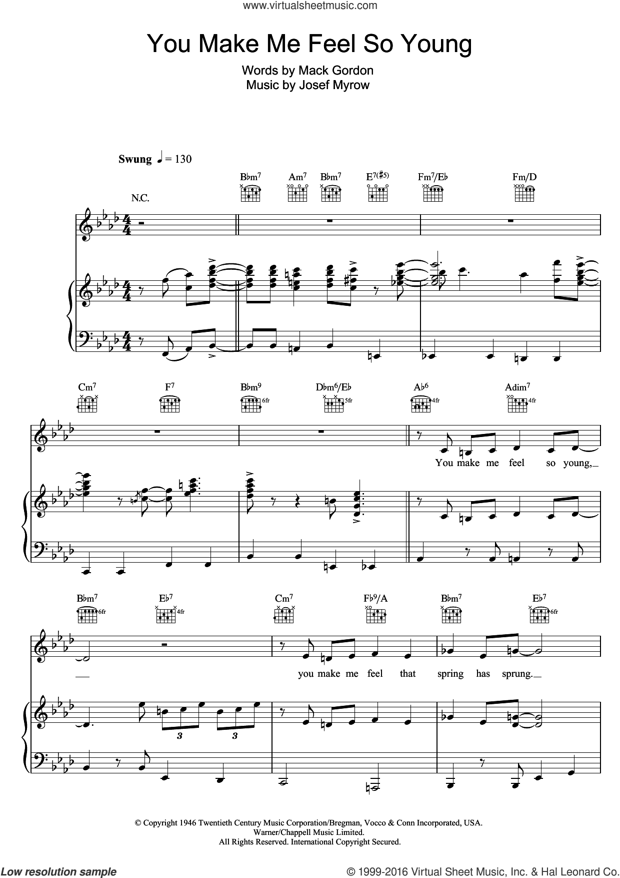 You Make Me Feel So Young sheet music for voice, piano or guitar by Michael Buble, Frank Sinatra, Josef Myrow and Mack Gordon, intermediate skill level