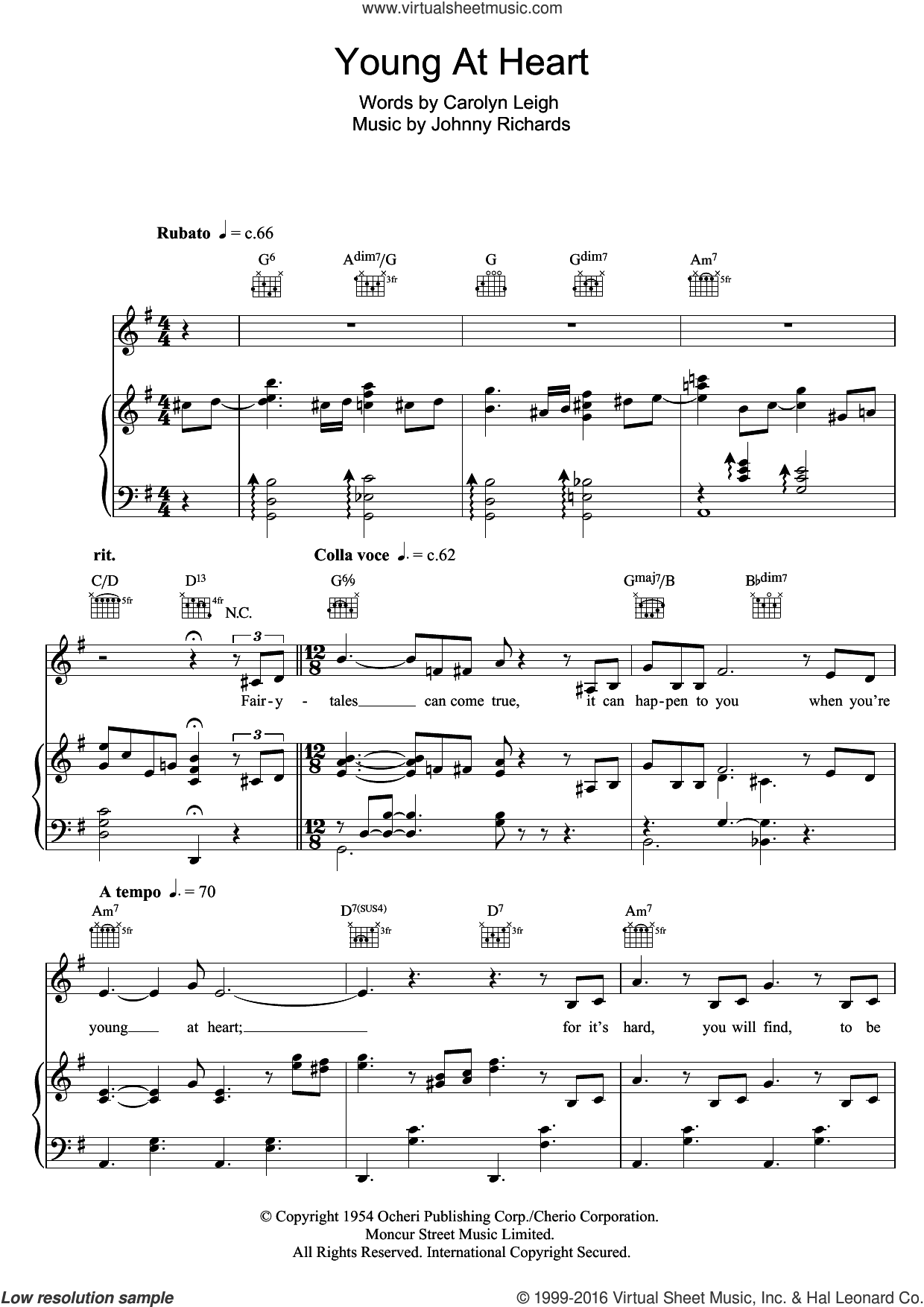 Young At Heart sheet music for voice, piano or guitar by Michael Buble, Frank Sinatra, Carolyn Leigh and Johnny Richards, intermediate skill level