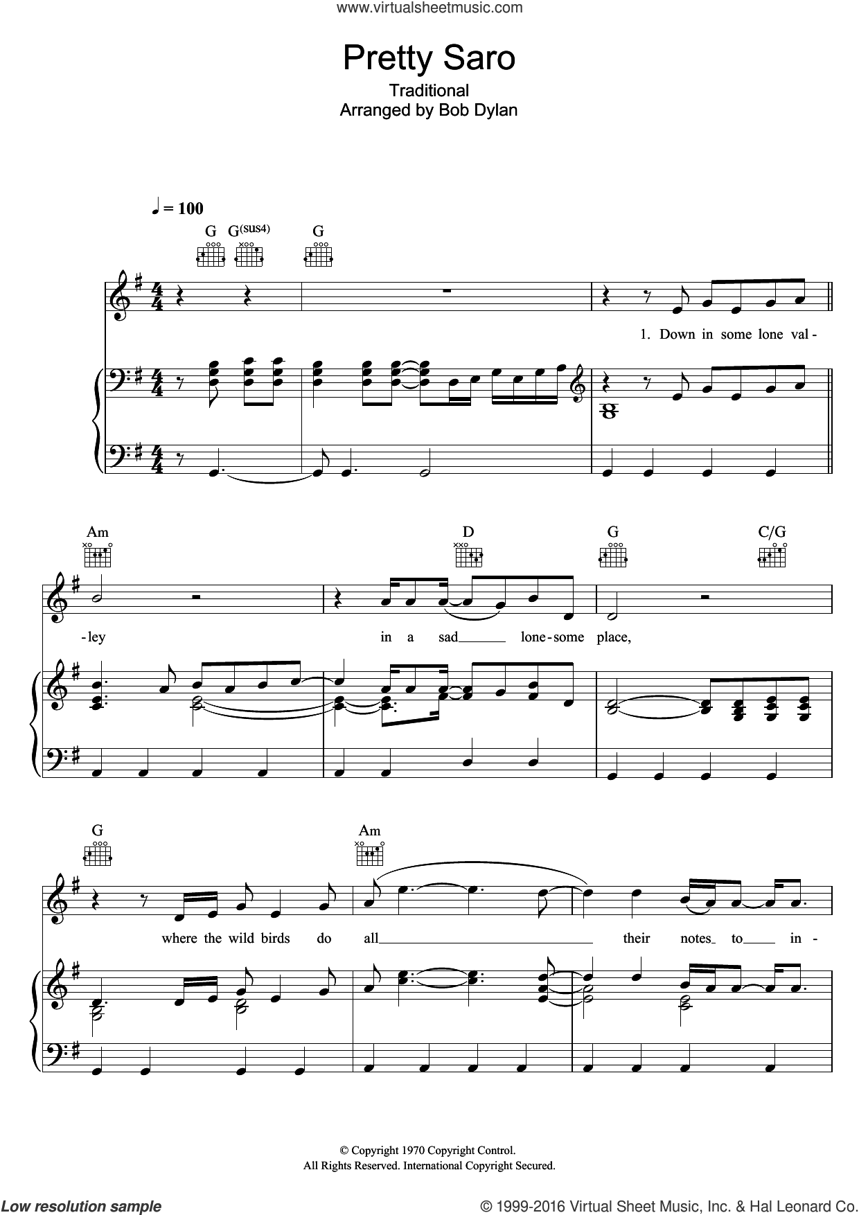 Pretty Saro sheet music for voice, piano or guitar by Bob Dylan and Miscellaneous, intermediate skill level