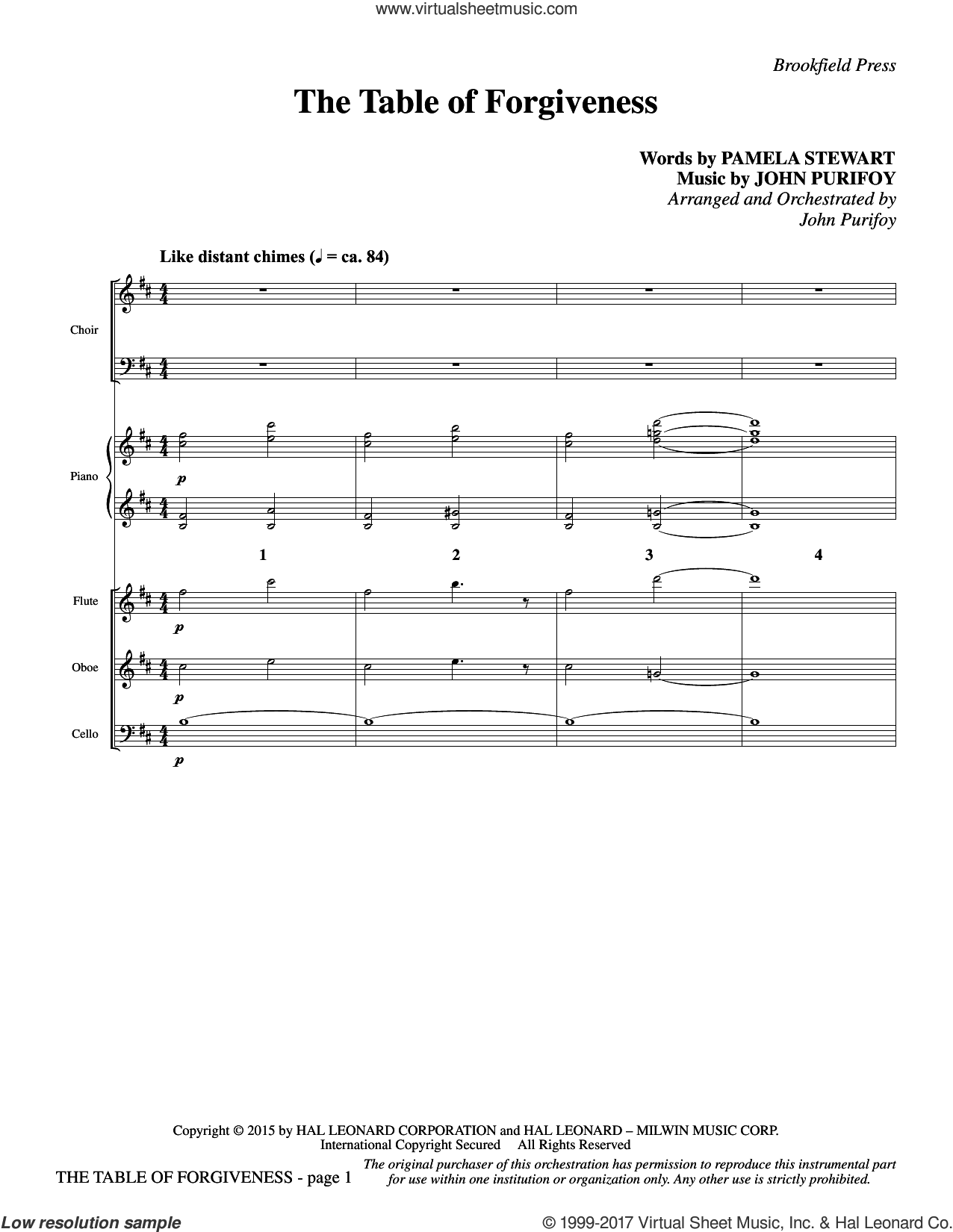 The Table of Forgiveness (COMPLETE) sheet music for orchestra/band by John Purifoy and Pamela Stewart, intermediate orchestra/band. Score Image Preview.