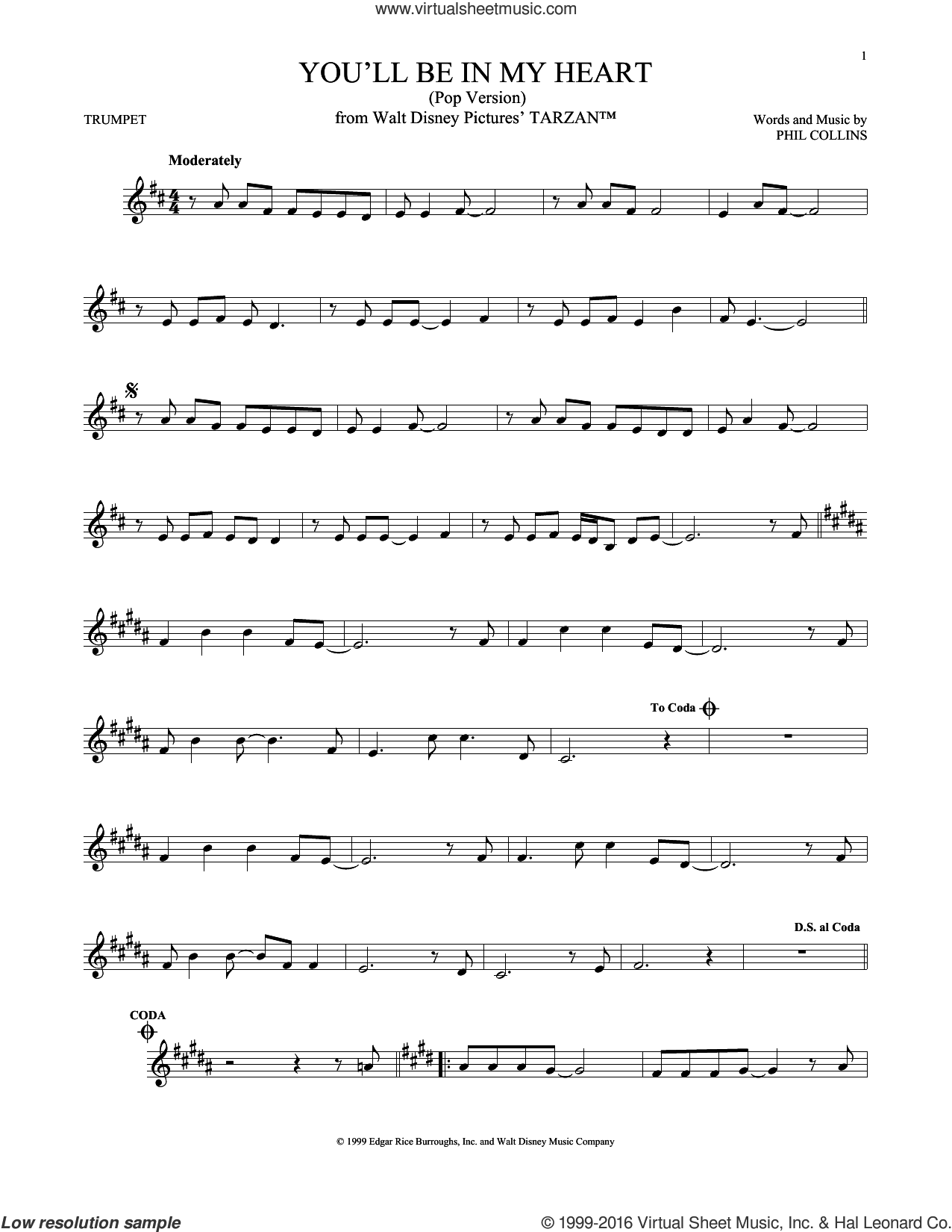 You'll Be In My Heart (Pop Version) sheet music for trumpet solo by Phil Collins, intermediate. Score Image Preview.