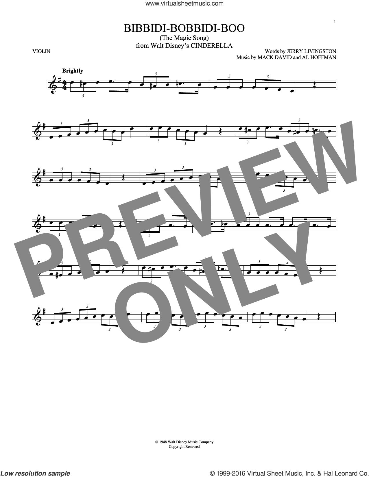 Bibbidi-Bobbidi-Boo (The Magic Song) sheet music for violin solo by Jerry Livingston, Al Hoffman and Mack David, intermediate skill level