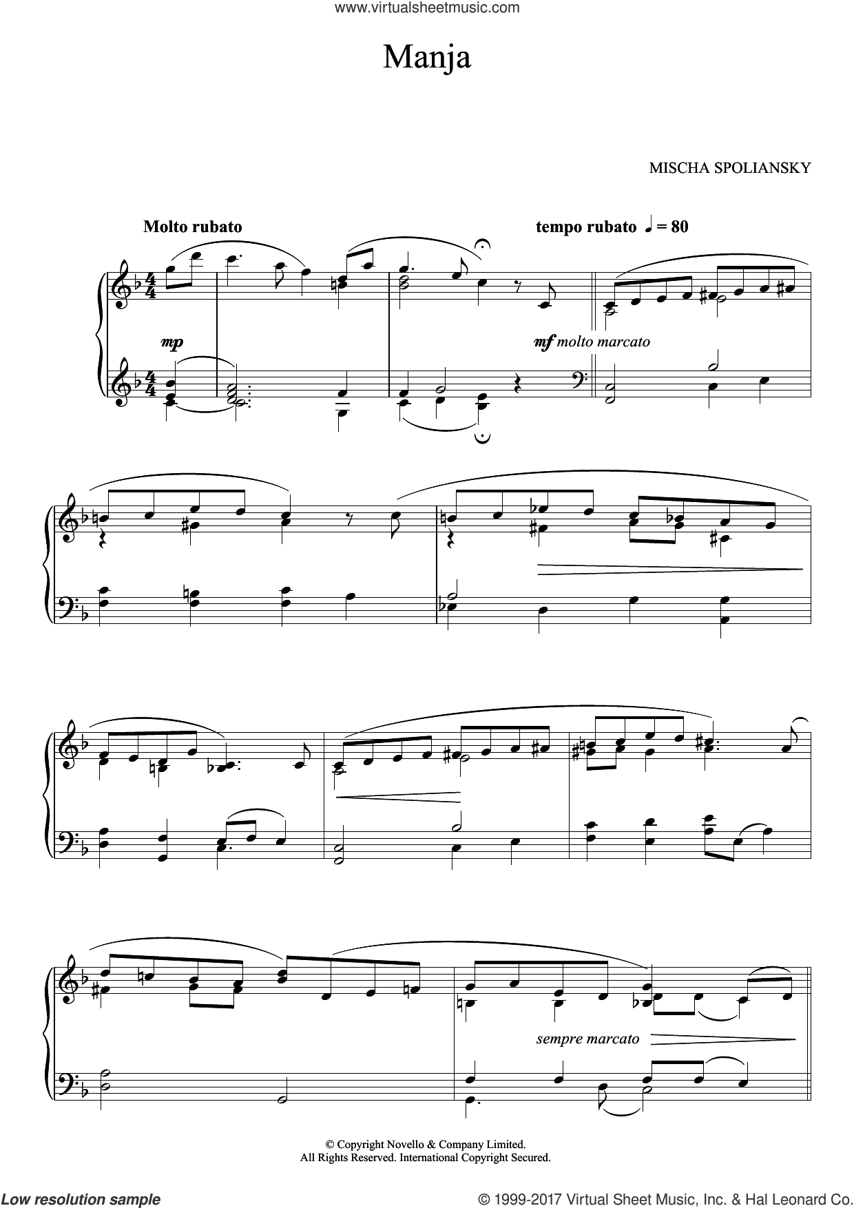 Manja sheet music for piano solo by Mischa Spoliansky, classical score, intermediate. Score Image Preview.