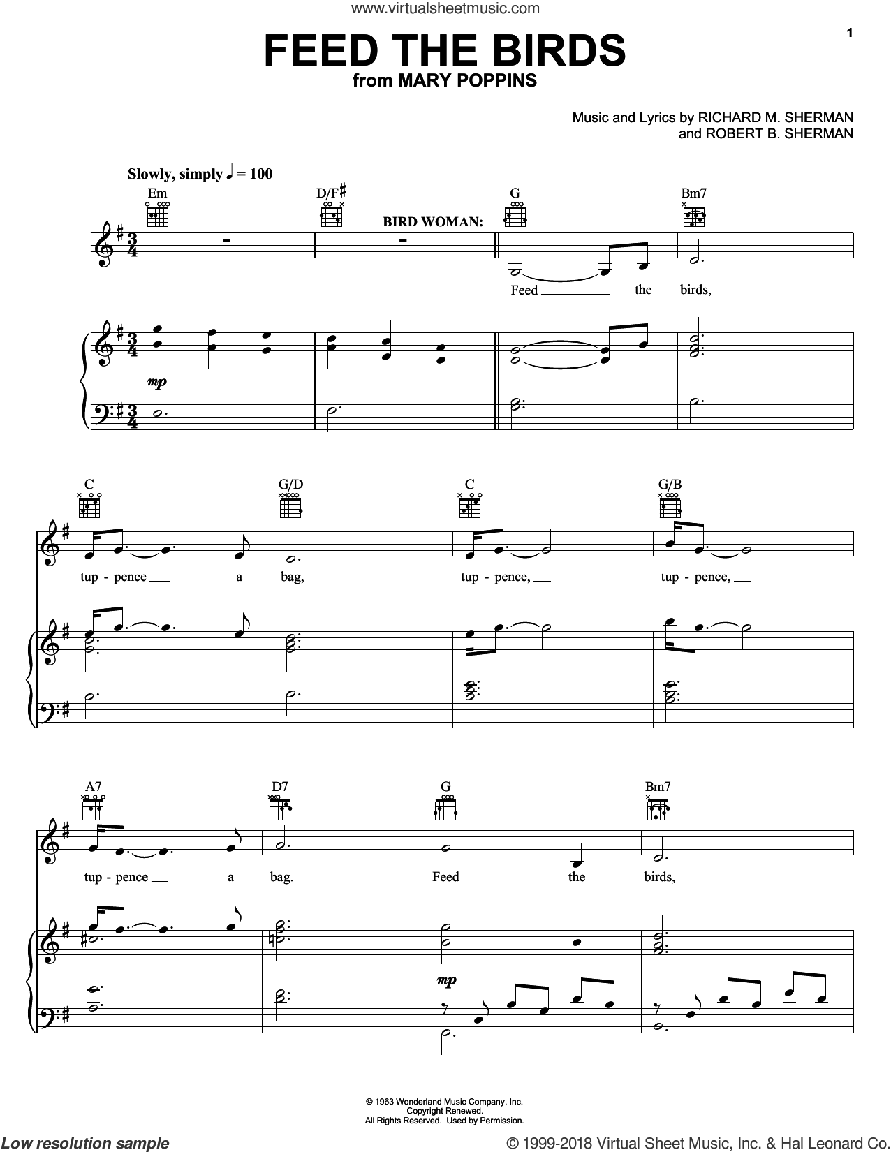 Feed The Birds sheet music for voice, piano or guitar by Sherman Brothers, Anthony Drewe, George Stiles, Richard M. Sherman and Robert B. Sherman. Score Image Preview.
