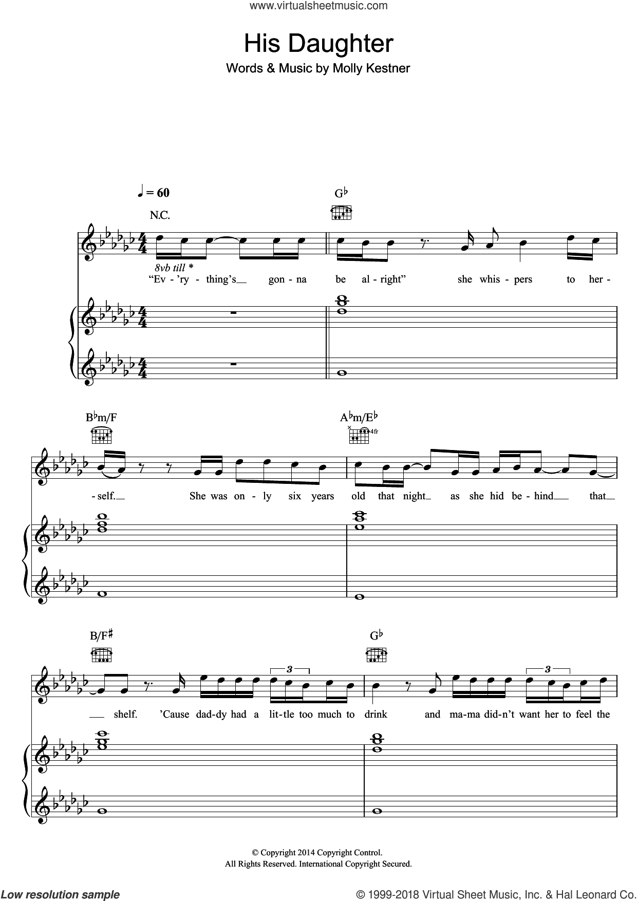 His Daughter sheet music for voice, piano or guitar by Molly Kate Kestner, intermediate skill level