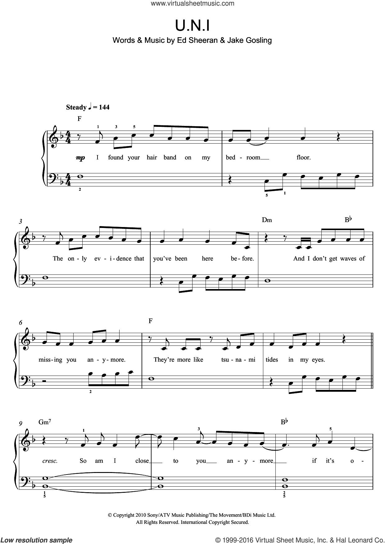 U.N.I sheet music for piano solo (beginners) by Ed Sheeran and Jake Gosling, beginner piano (beginners)