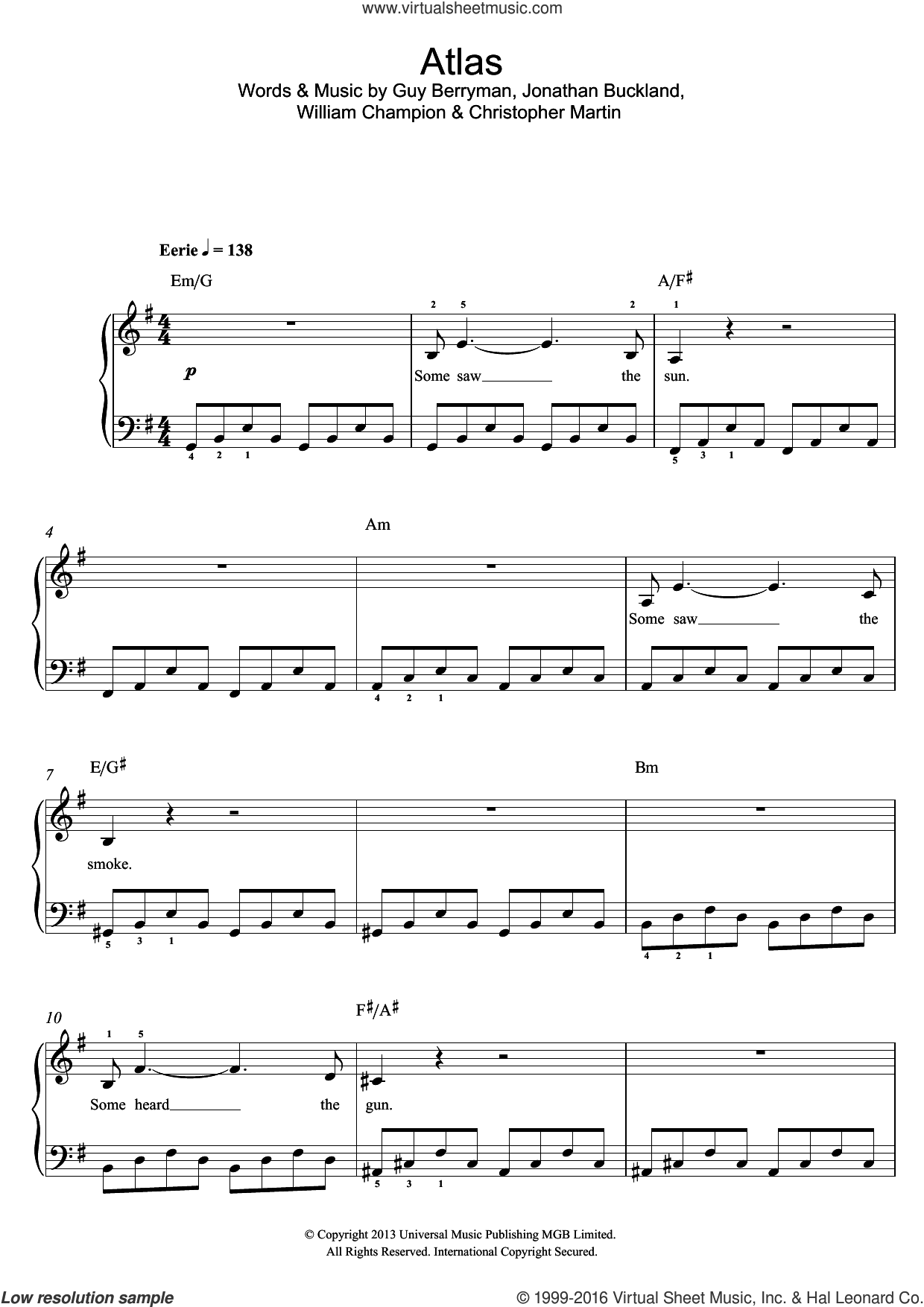 Atlas sheet music for piano solo (beginners) by William Champion, Coldplay, Christopher Martin and Guy Berryman. Score Image Preview.