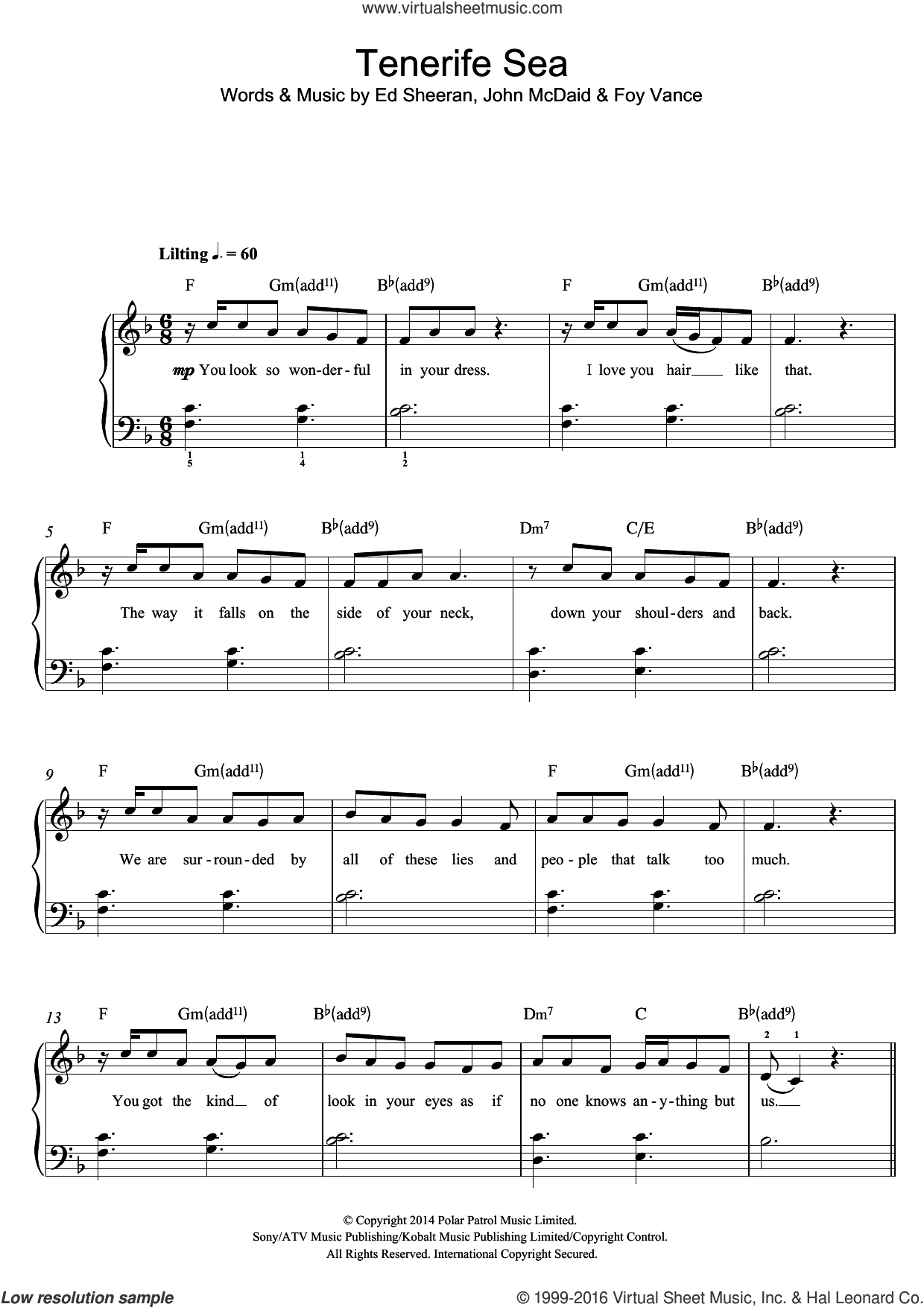 Tenerife Sea sheet music for piano solo (beginners) by Ed Sheeran, Foy Vance and John McDaid, beginner piano (beginners)