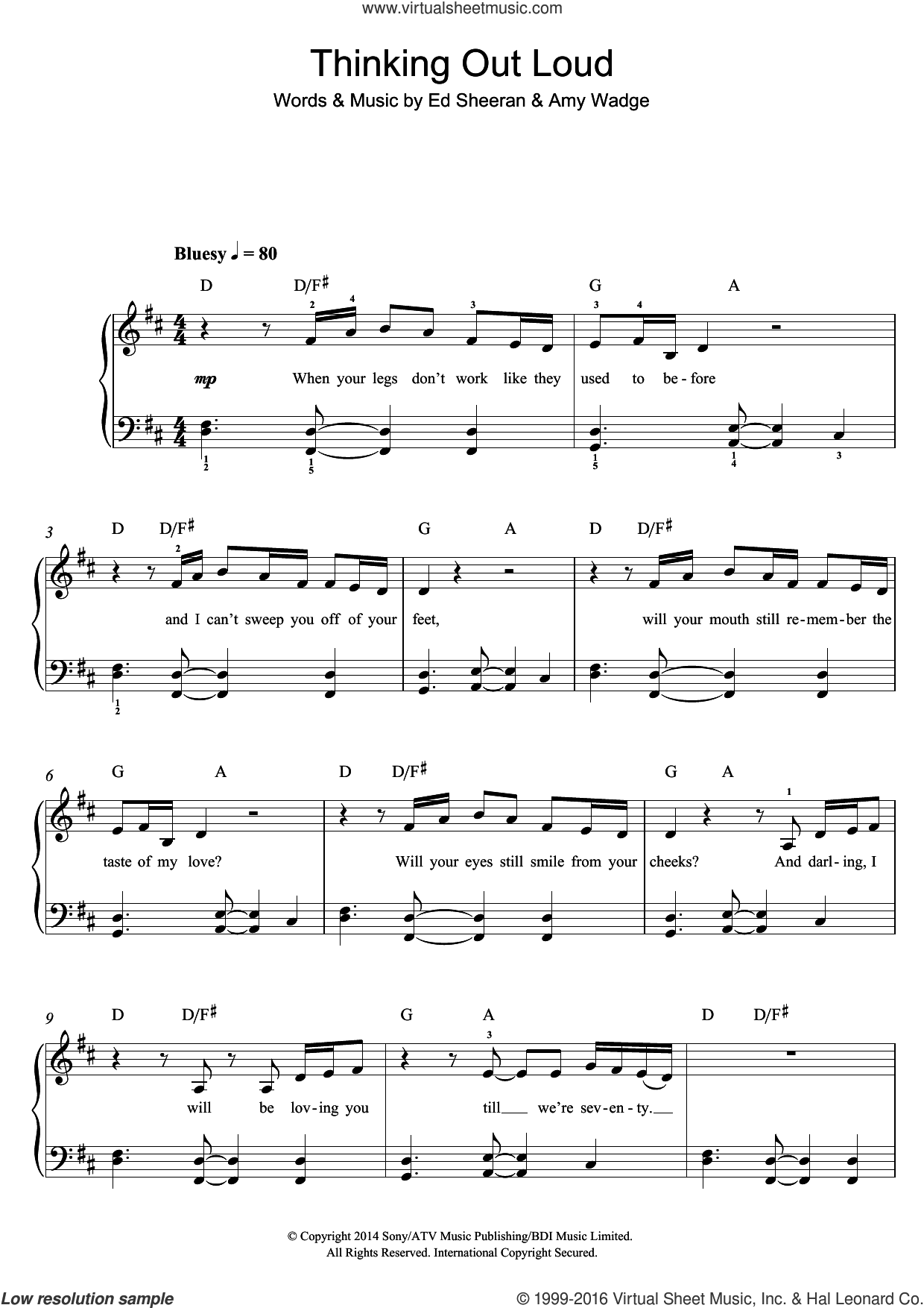 Thinking Out Loud sheet music for piano solo (beginners) by Ed Sheeran. Score Image Preview.