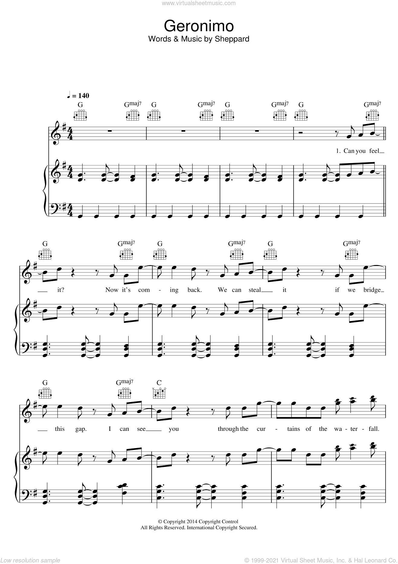 Geronimo sheet music for voice, piano or guitar by Sheppard. Score Image Preview.