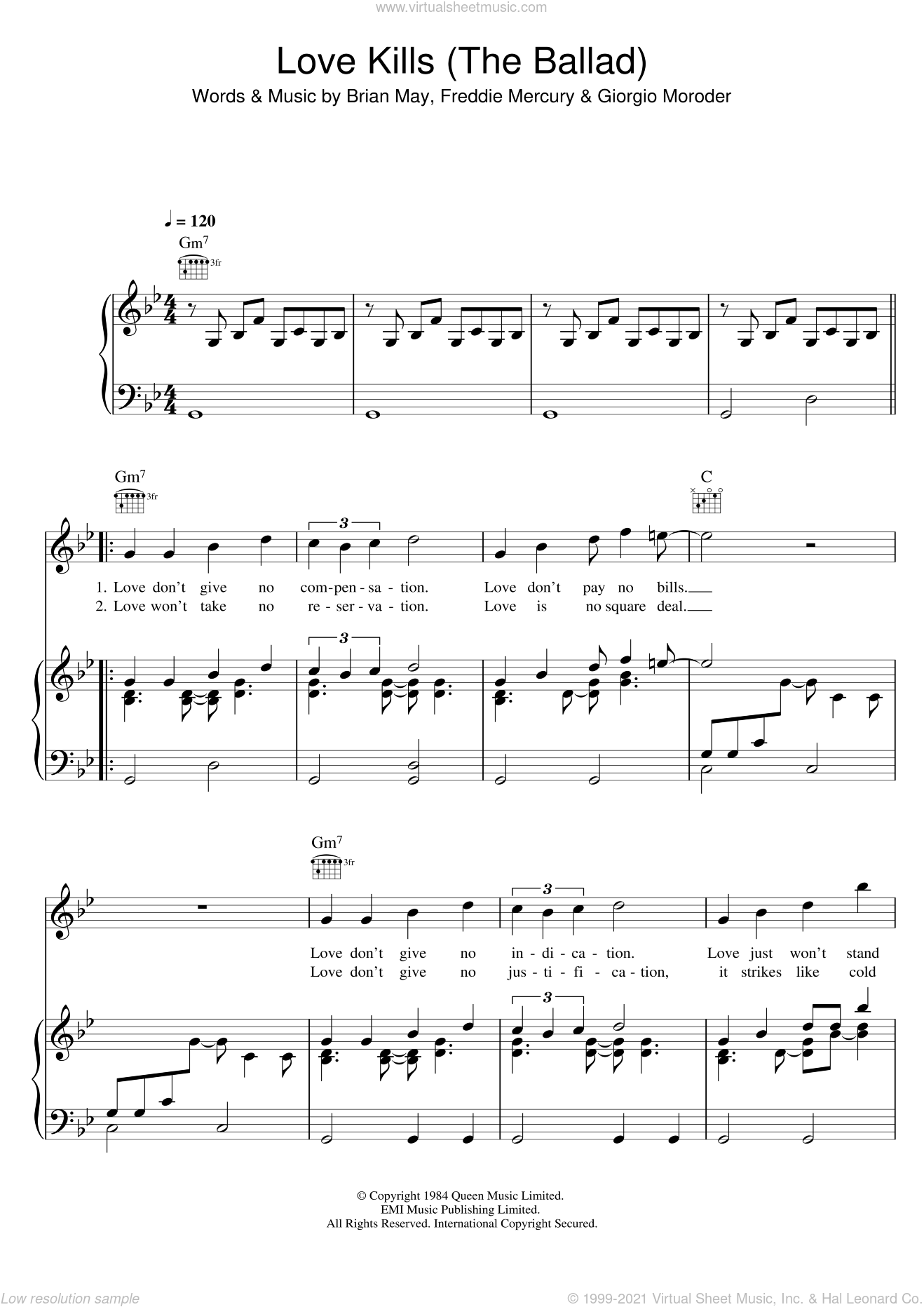Love Kills (The Ballad) sheet music for voice, piano or guitar by Queen, Brian May, Freddie Mercury and Giorgio Moroder, intermediate skill level