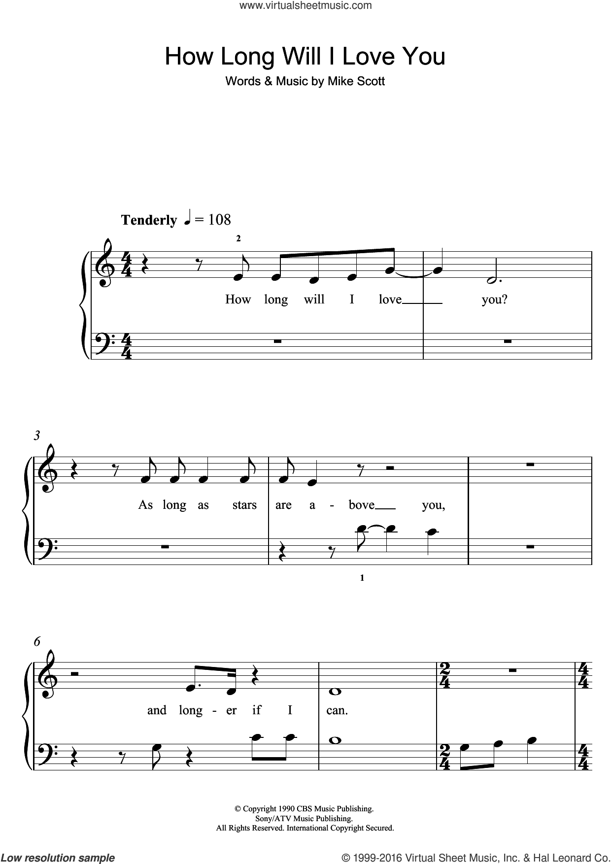 How Long Will I Love You sheet music for piano solo (5-fingers) by Ellie Goulding and Mike Scott. Score Image Preview.